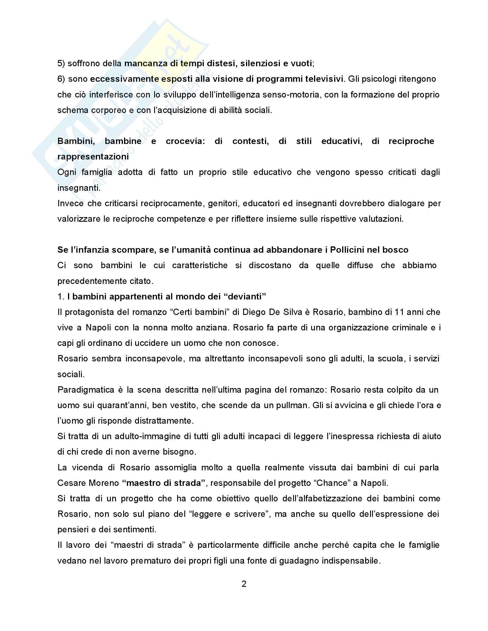 Riassunto esame Pedagogia della Famiglia, prof. Formenti, libro consigliato Molte Infanzie, Molte Famiglie, Contini Pag. 2