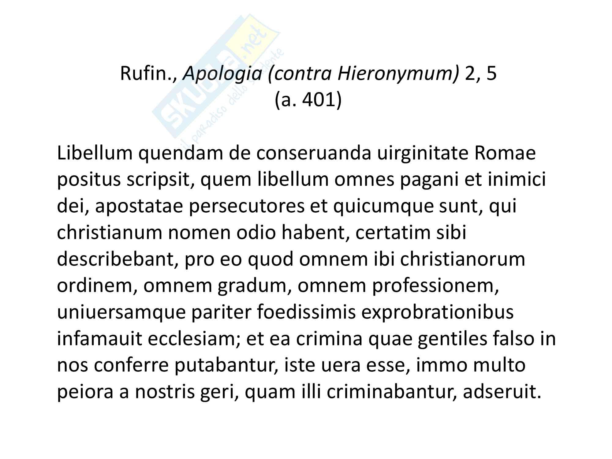Epistolario San Gerolamo, lettera XXII ad Eustochio, Discorso sulla verginità, vita e filosofia. Pag. 11