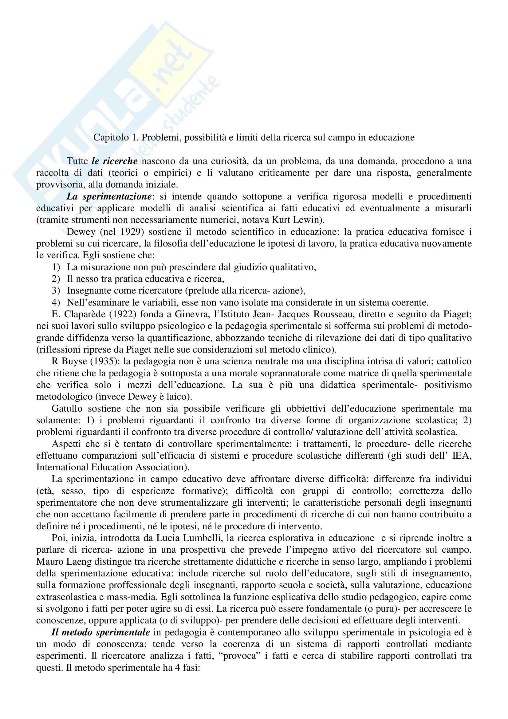 Riassunto esame Pedagogia Sperimentale, prof. Capperucci, libro consigliato La Ricerca Sul Campo in Educazione: Metodi Qualitativi, Mantovani