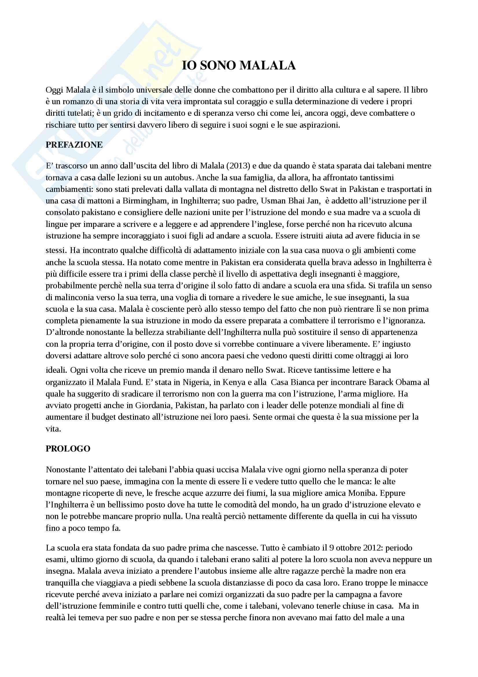 Riassunto esame Formazione e progettualità, Camerucci, prof. Camerucci, libro consigliato Io sono Malala, Yousafzai