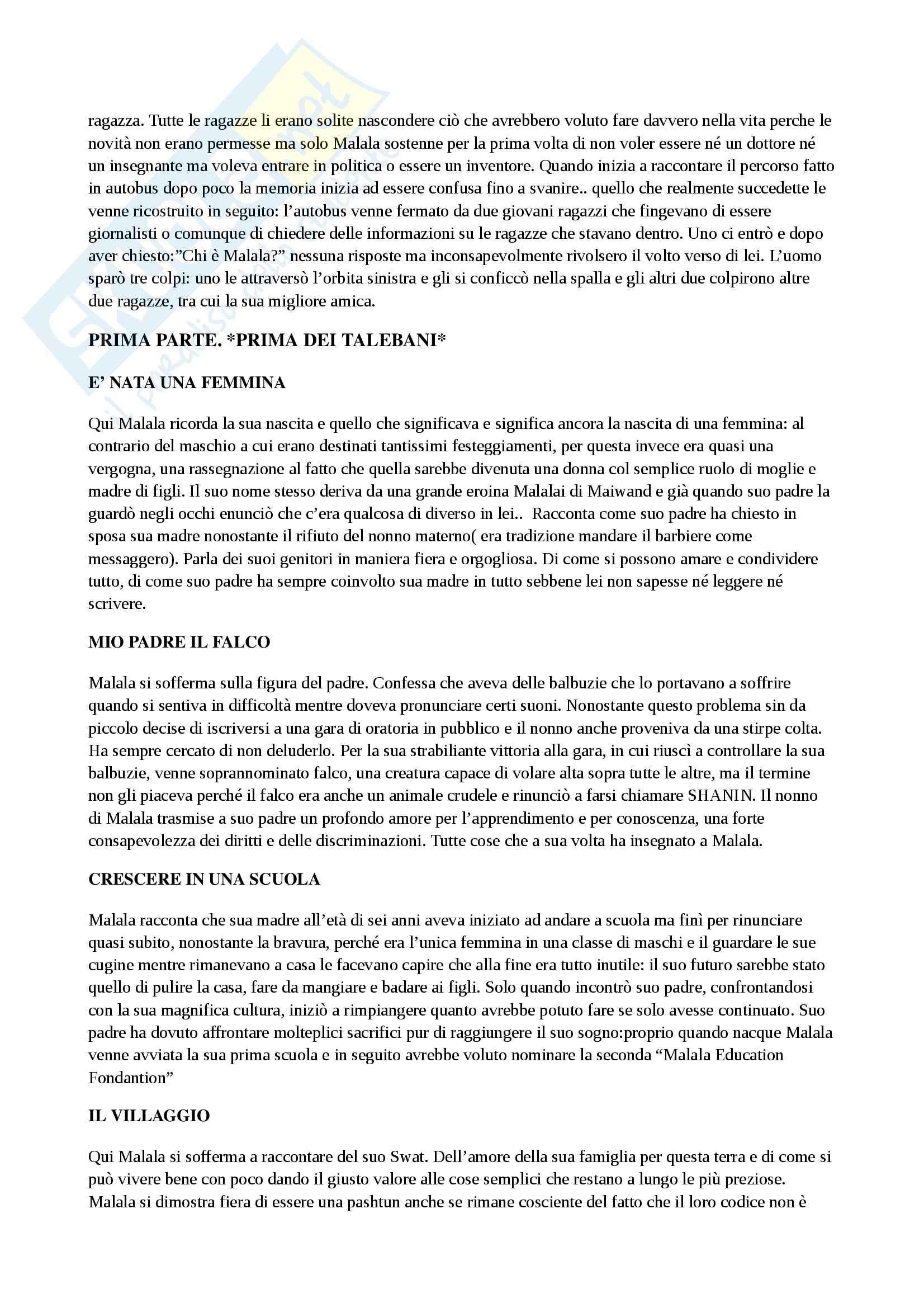 Riassunto esame Formazione e progettualità, Camerucci, prof. Camerucci, libro consigliato Io sono Malala, Yousafzai Pag. 2