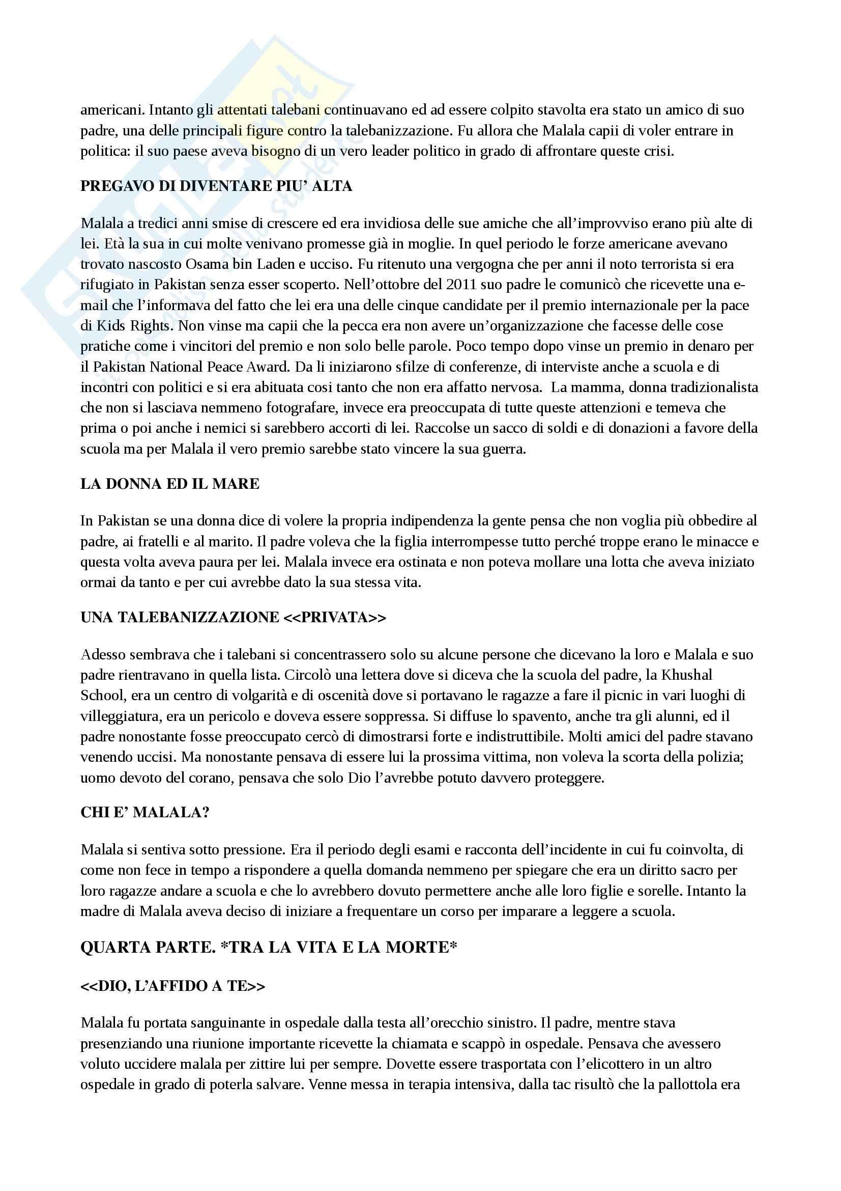 Riassunto esame Formazione e progettualità, Camerucci, prof. Camerucci, libro consigliato Io sono Malala, Yousafzai Pag. 6