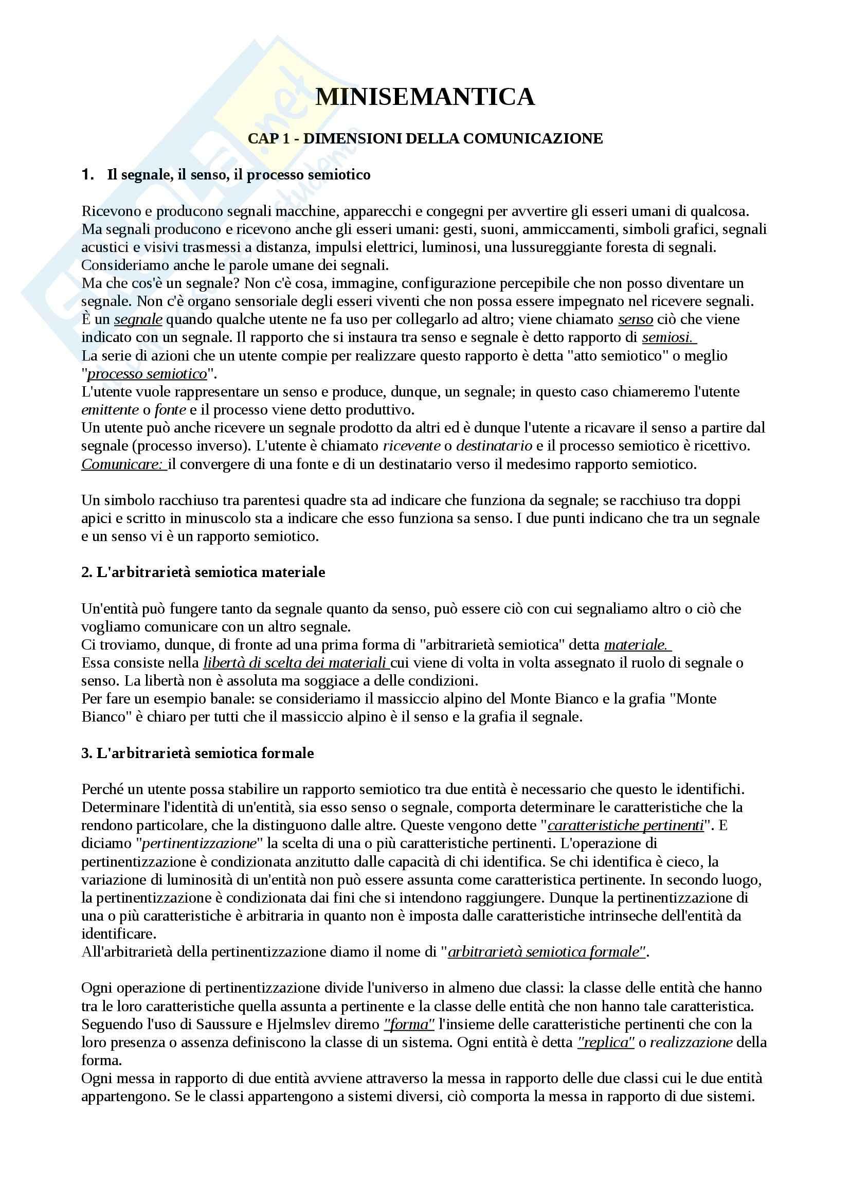 Riassunto esame Semiotica, prof. Vecchio, libro consigliato Minisemantica, De Mauro