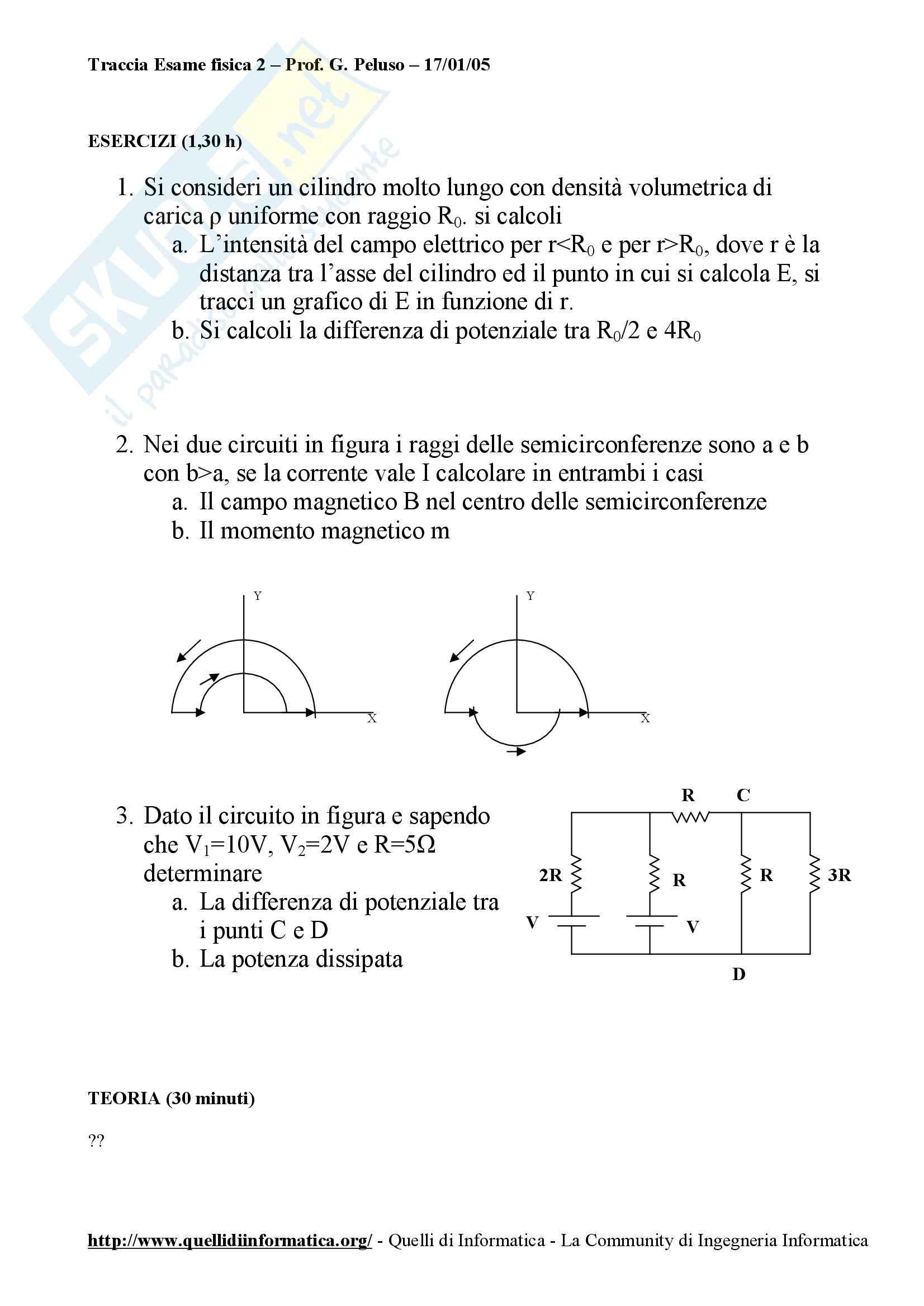 Fisica I - Esame fisica prof. Peluso 2005