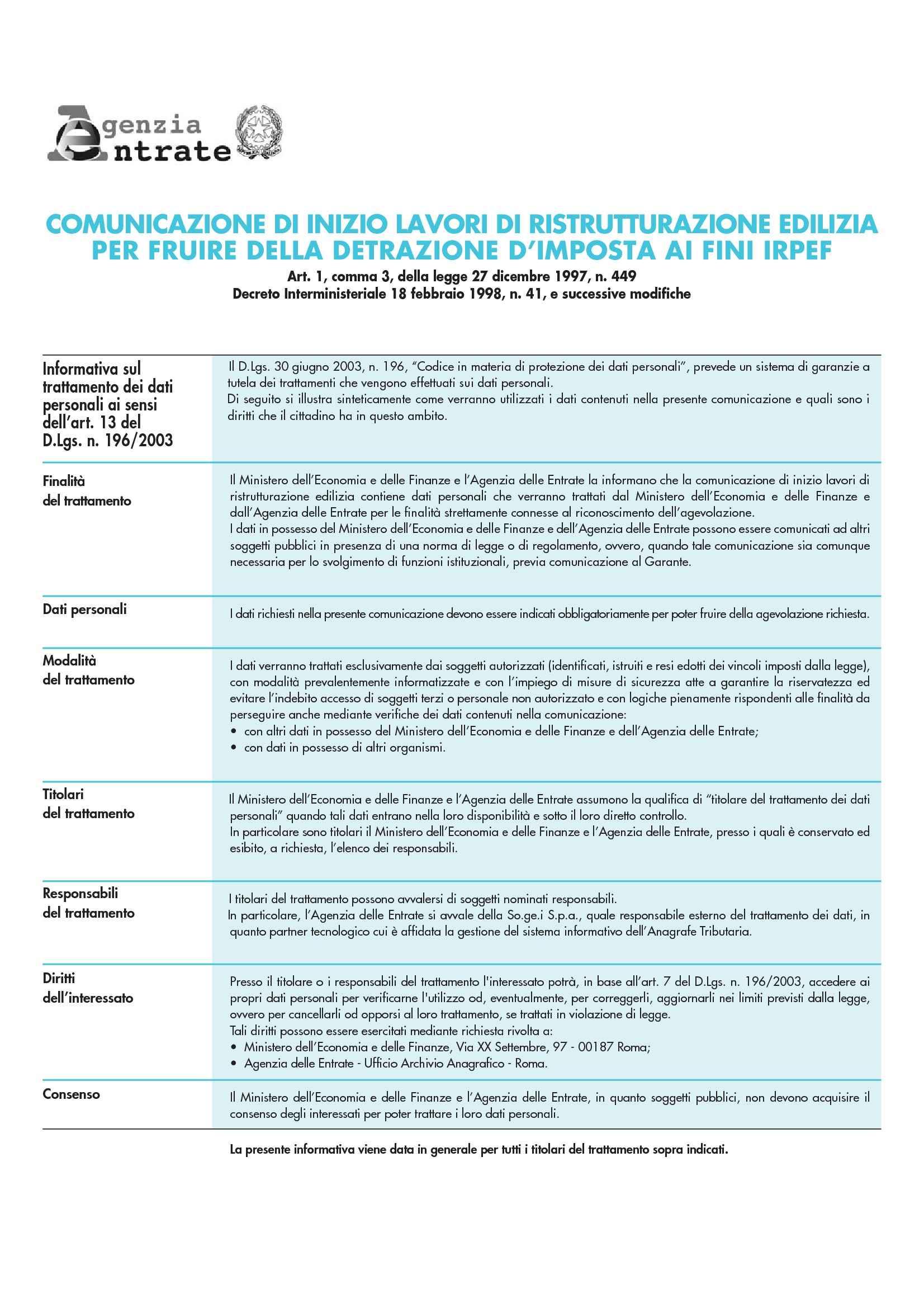 Ristrutturazione edilizia - Comunicazione di inizio lavori