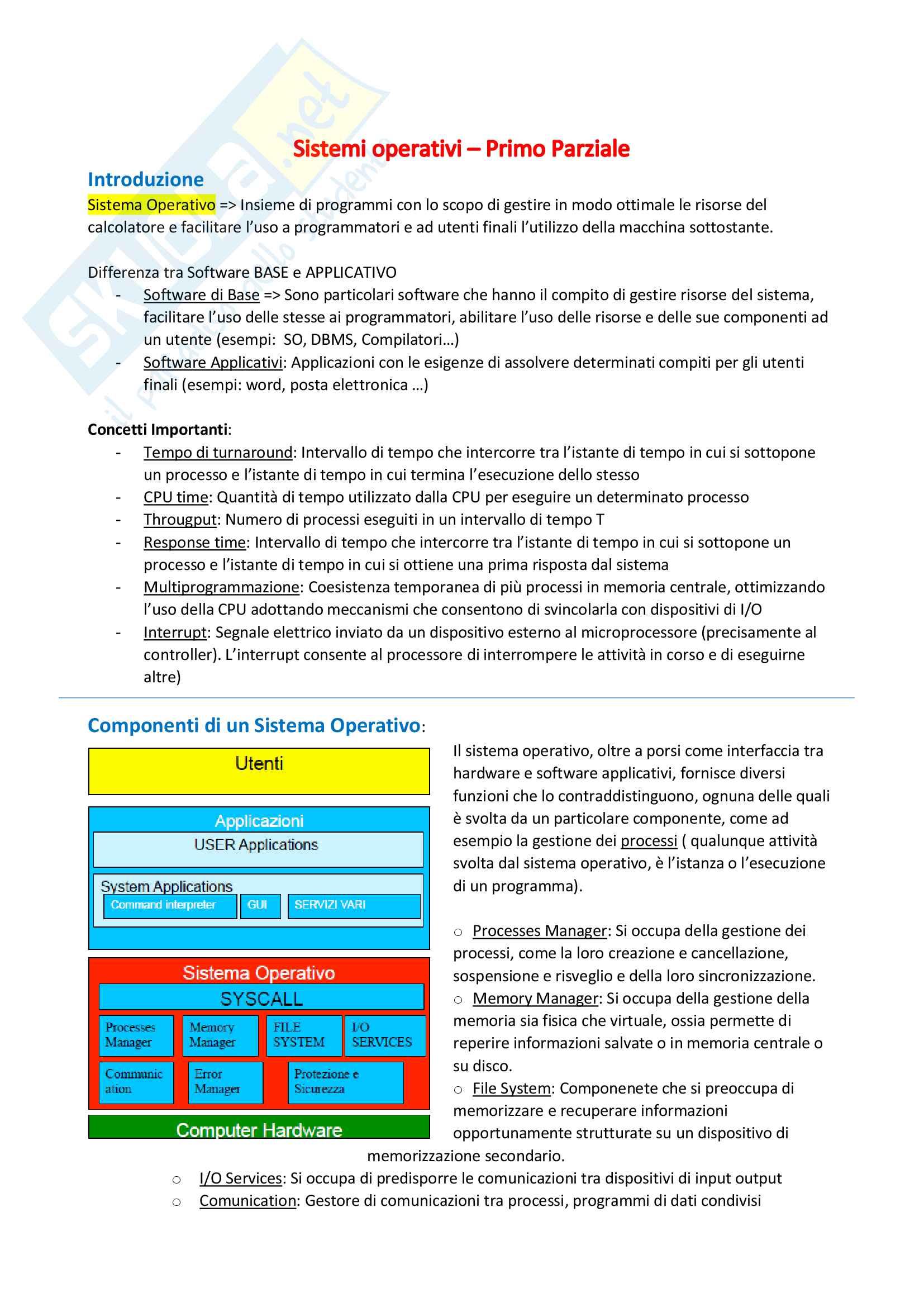 Sistemi Operativi - Gestione VM e Processi