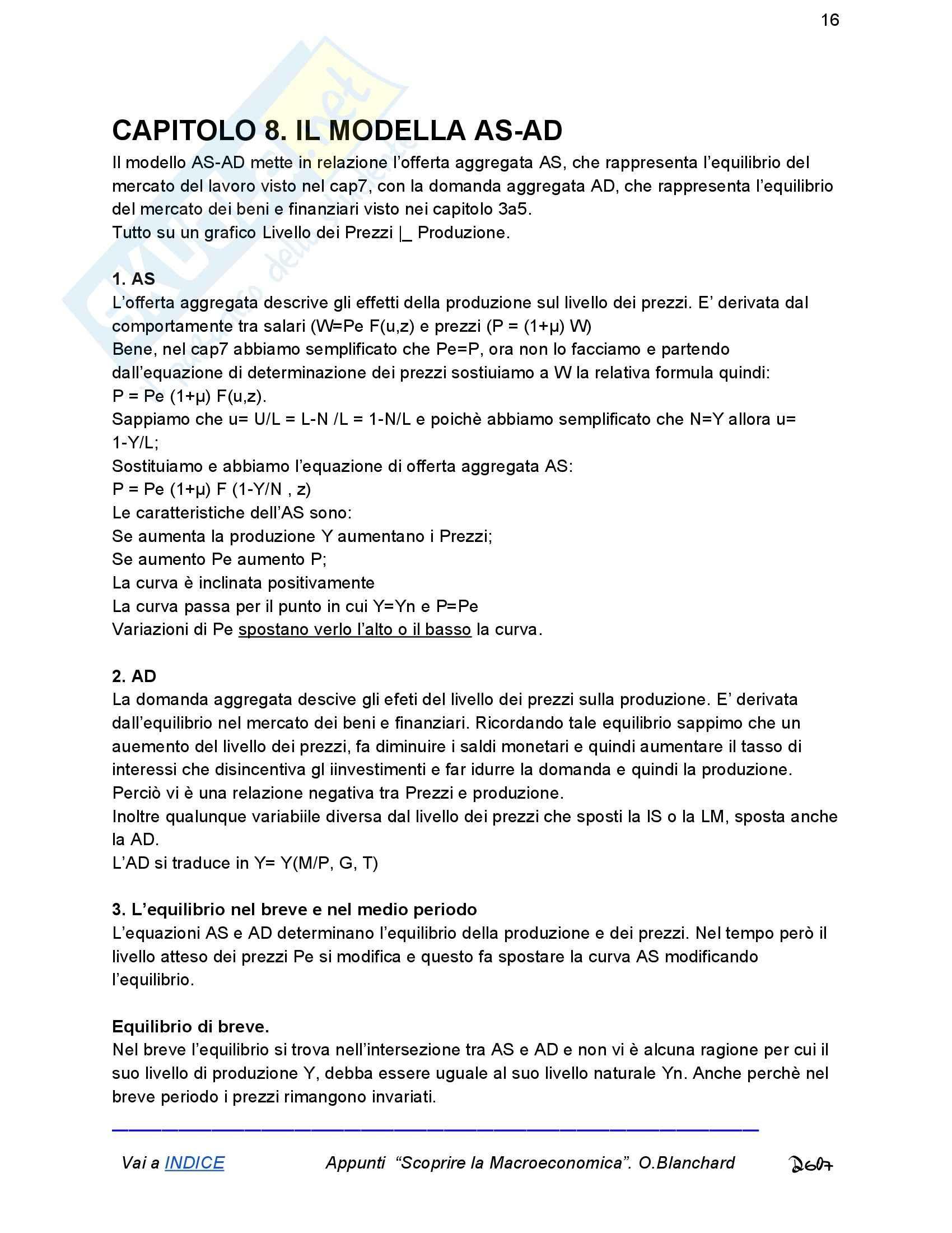 Riassunto esame Economia, prof. Romano, libro consigliato Macroeconomia, Blanchard Pag. 16