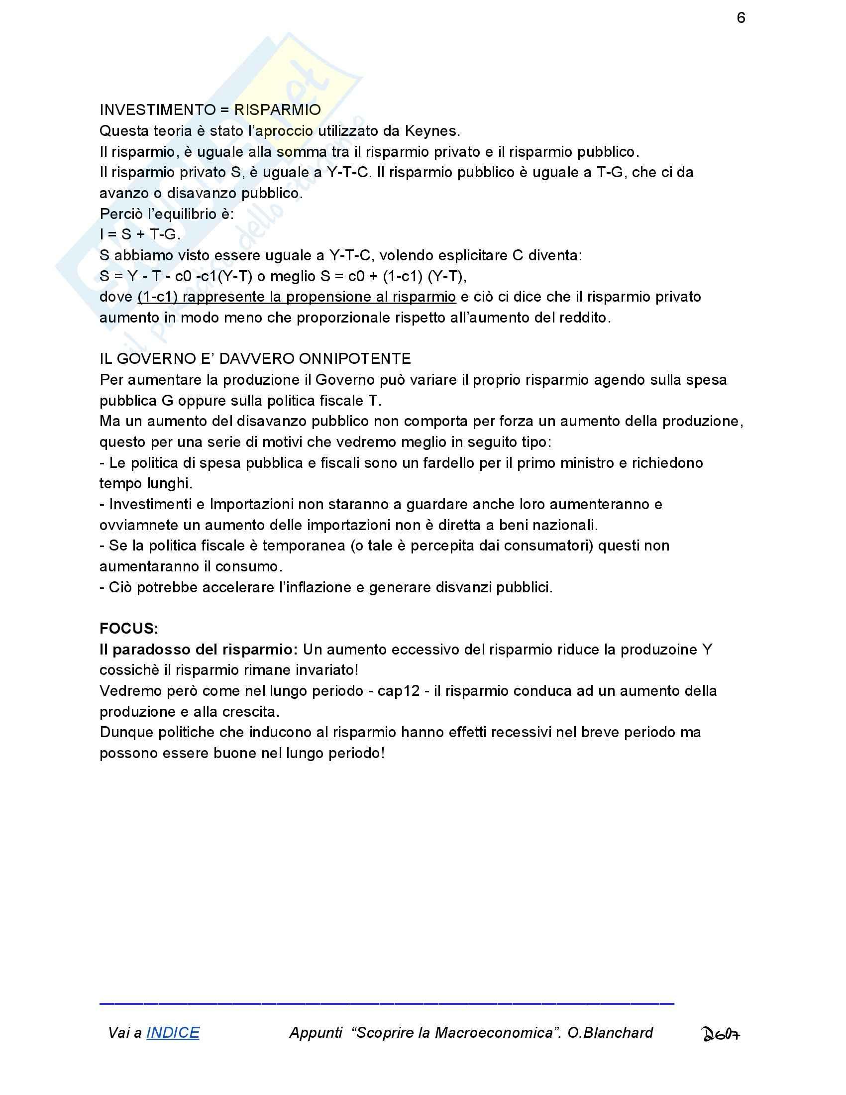 Riassunto esame Economia, prof. Romano, libro consigliato Macroeconomia, Blanchard Pag. 6