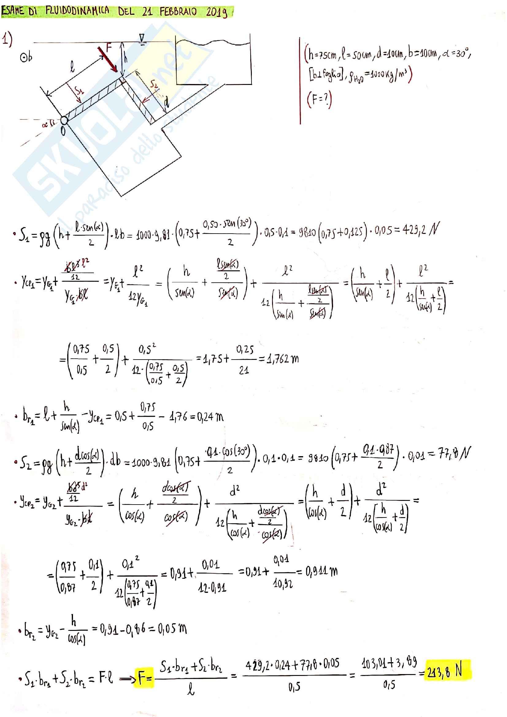 Esercizi di esame Fluidodinamica Crivellini Pag. 2