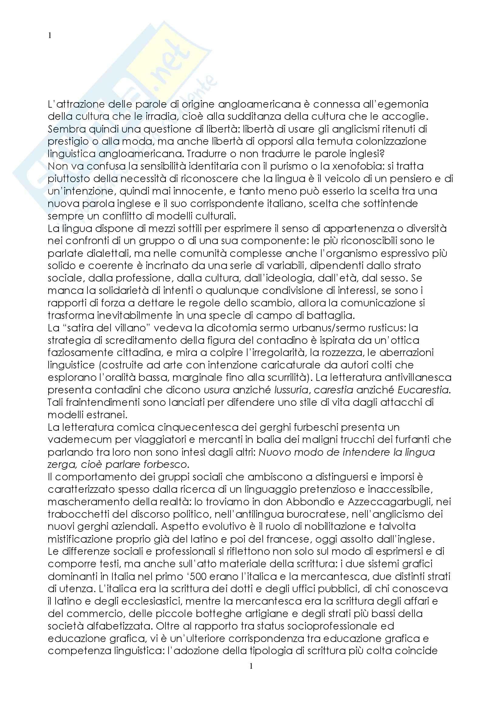Riassunto esame Linguistica Italiana, prof. Martinelli, libro consigliato Lingua e Identità, Trifone