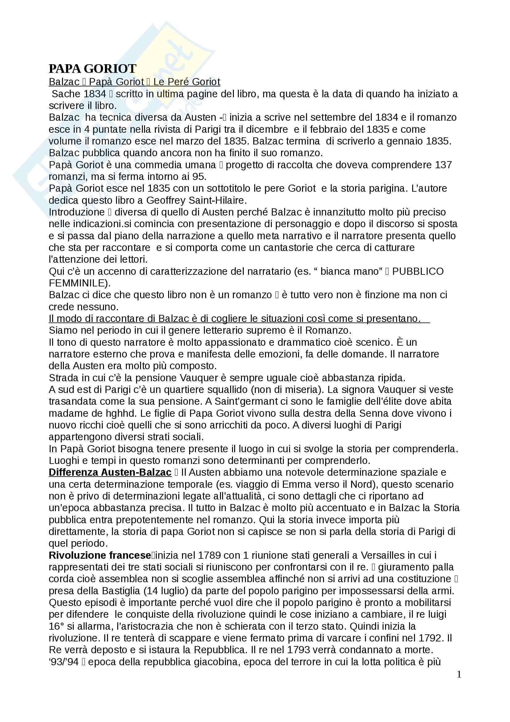 Letteratura italiana - Papa Goriot