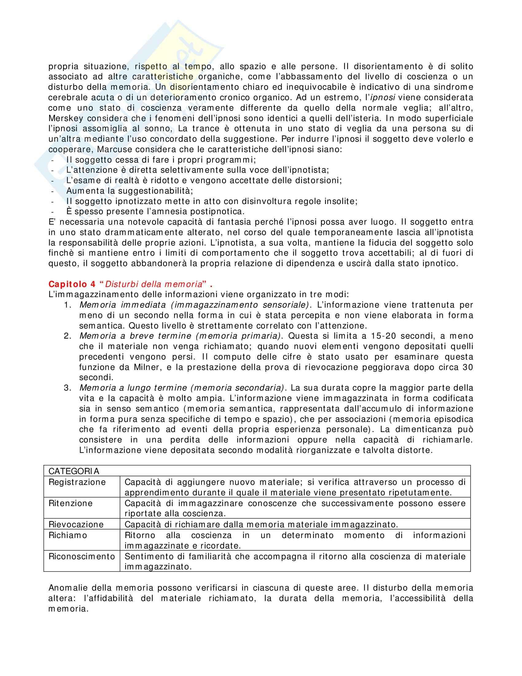 Riassunto esame Neuropsicologia, prof. indefinito, libro consigliato Introduzione alla Psicopatologia Descrittiva, Sims Pag. 6