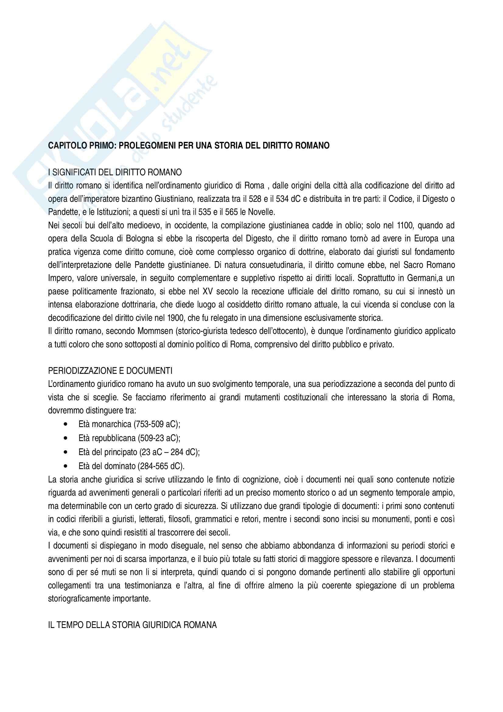 Riassunto esame Storia del diritto romano, prof. Arnese, libro consigliato Corso di storia del diritto romano, Masiello