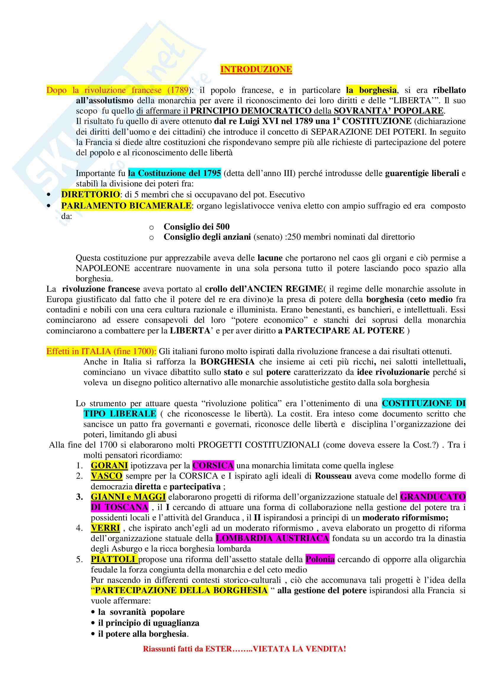 Riassunto esame Storia del Diritto Medievale e Moderno, prof. Sigismondi, libro consigliato Storia Costituzionale d'Italia, Ghisalberti
