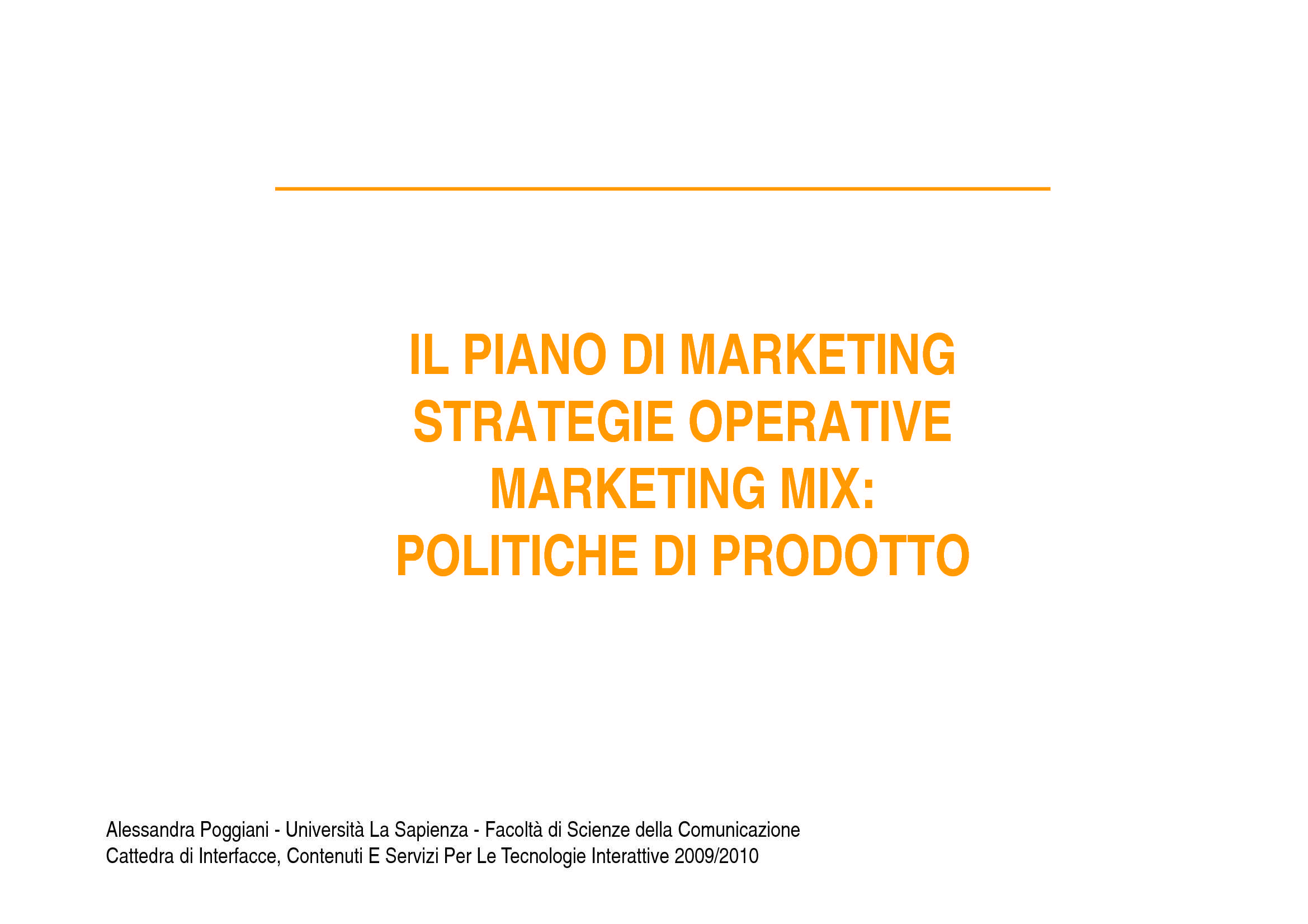 Marketing Mix - Politiche di prodotto