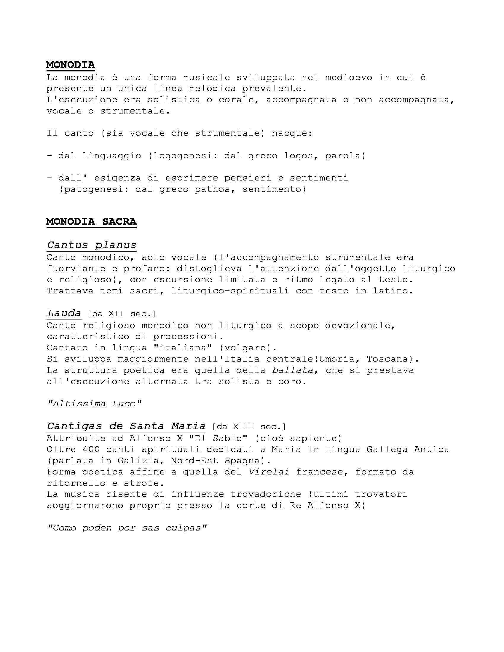 Storia delle Forme e Repertori Musicali 1 - Appunti Pag. 2