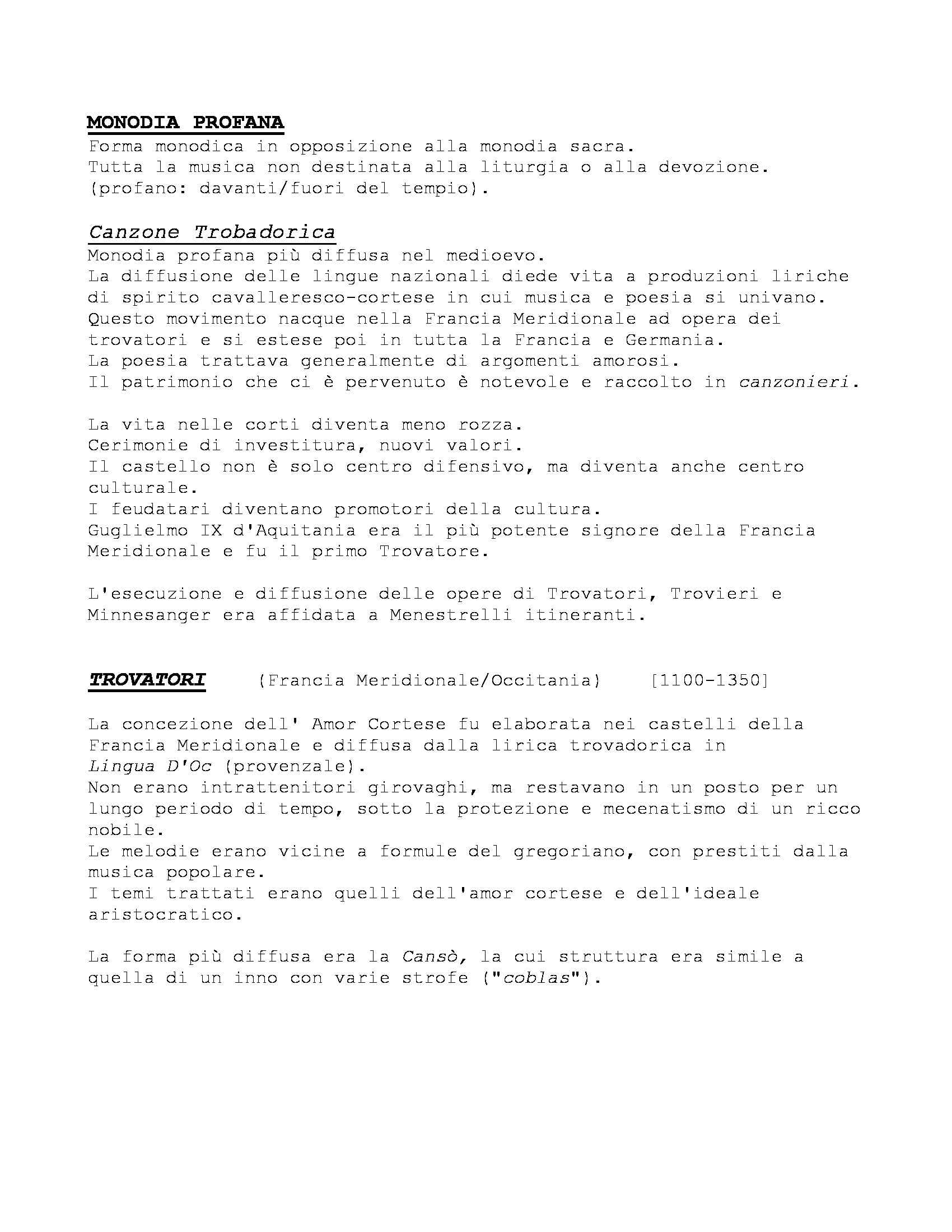 Storia delle Forme e Repertori Musicali 1 - Appunti Pag. 6