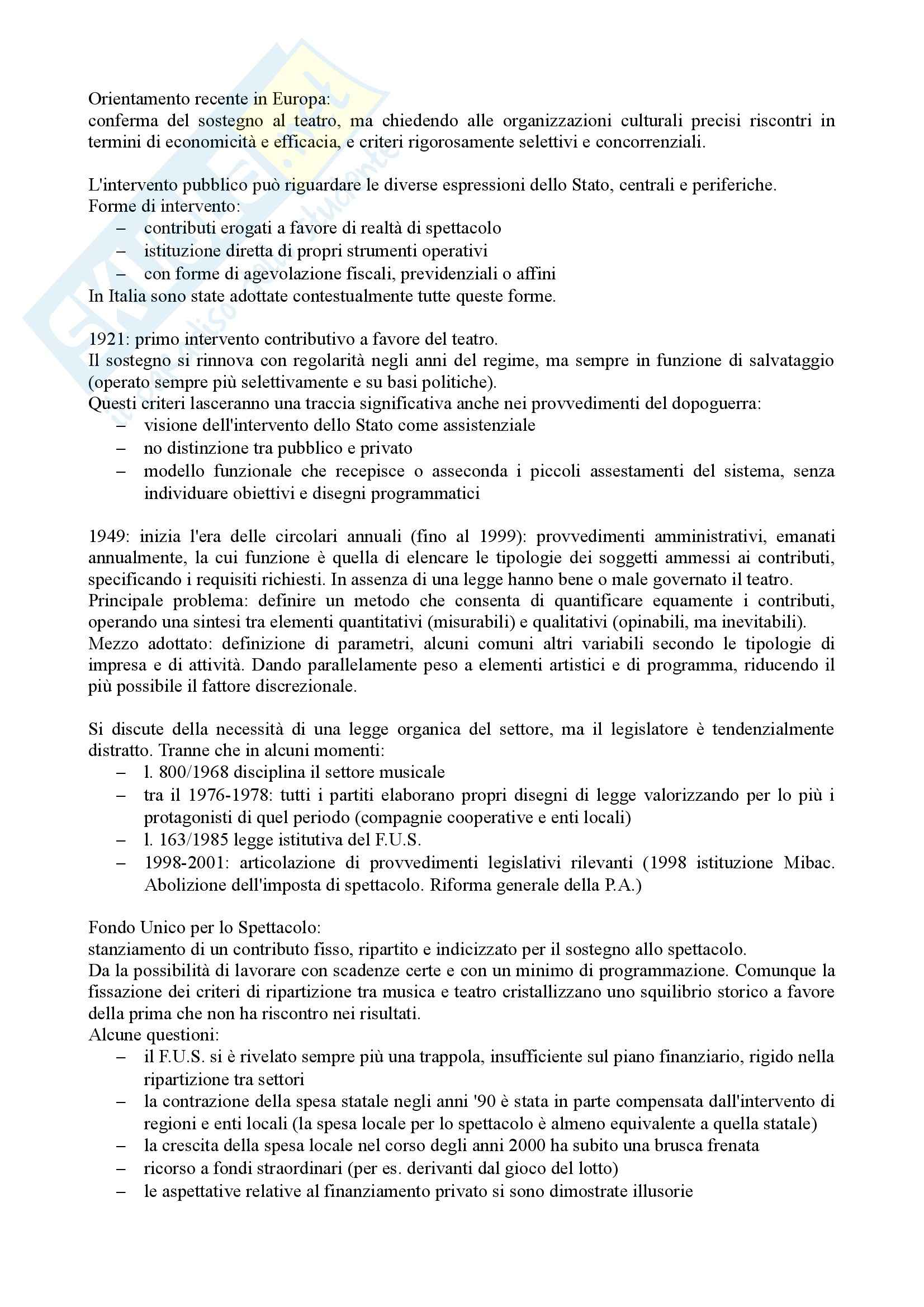 Riassunto esame Economia e Organizzazione dello Spettacolo, prof. Casari, libro consigliato Organizzare Teatro, Gallina Pag. 2