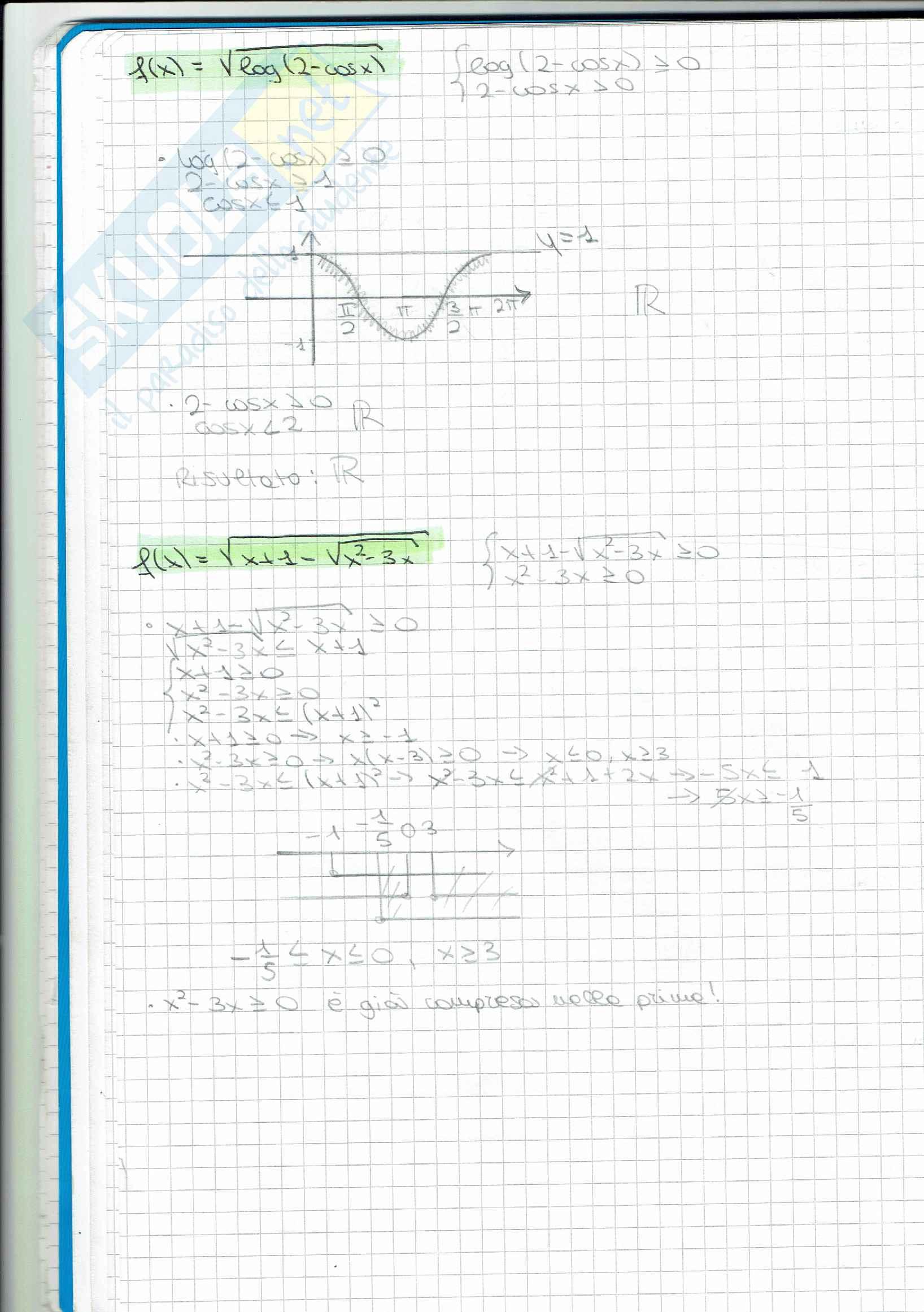 Esercizi svolti sul dominio di funzioni Pag. 2