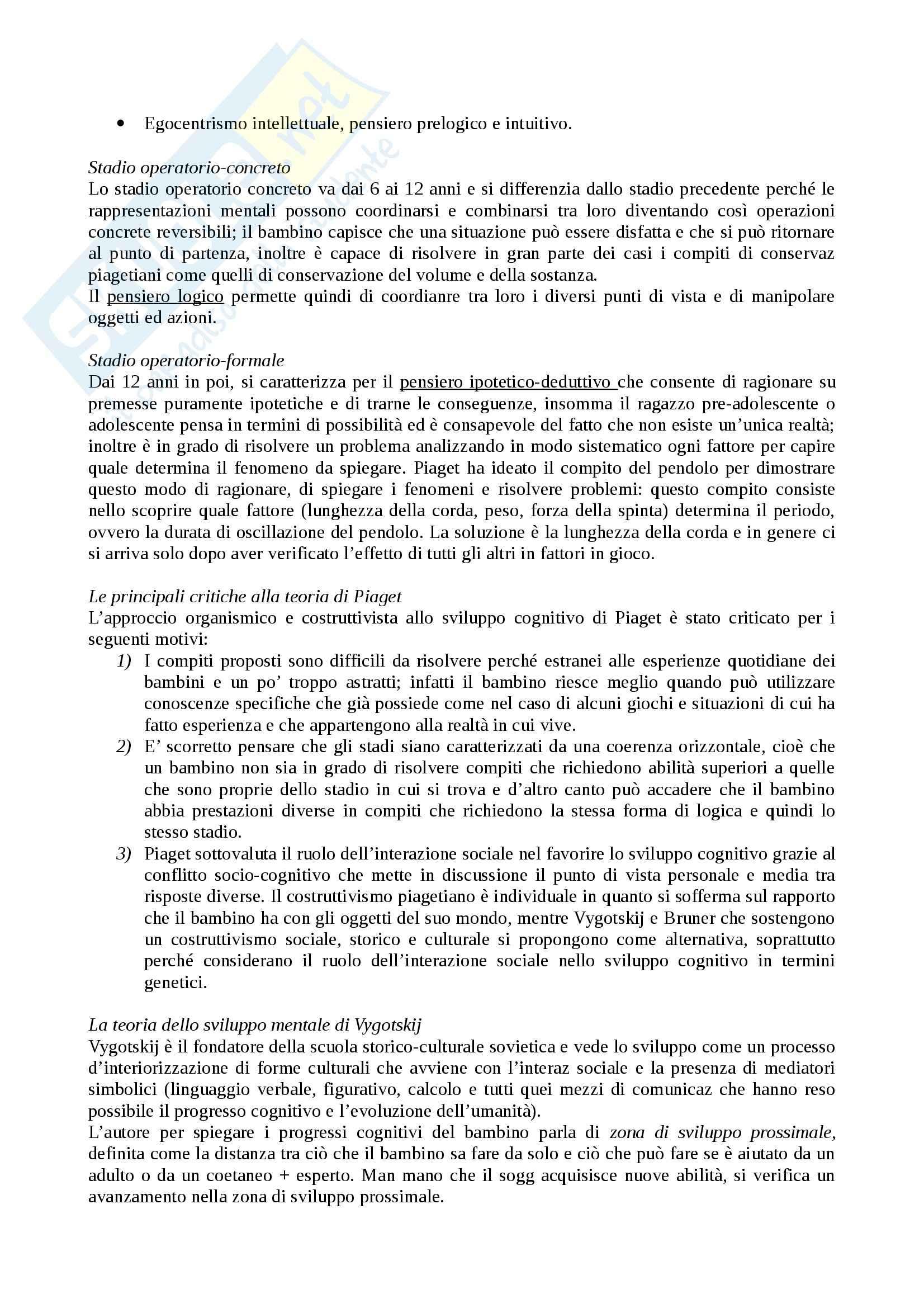 Riassunto esame Psicologia dello sviluppo, prof. Carugati, libro consigliato, Camaioni, Di Blasio Pag. 11