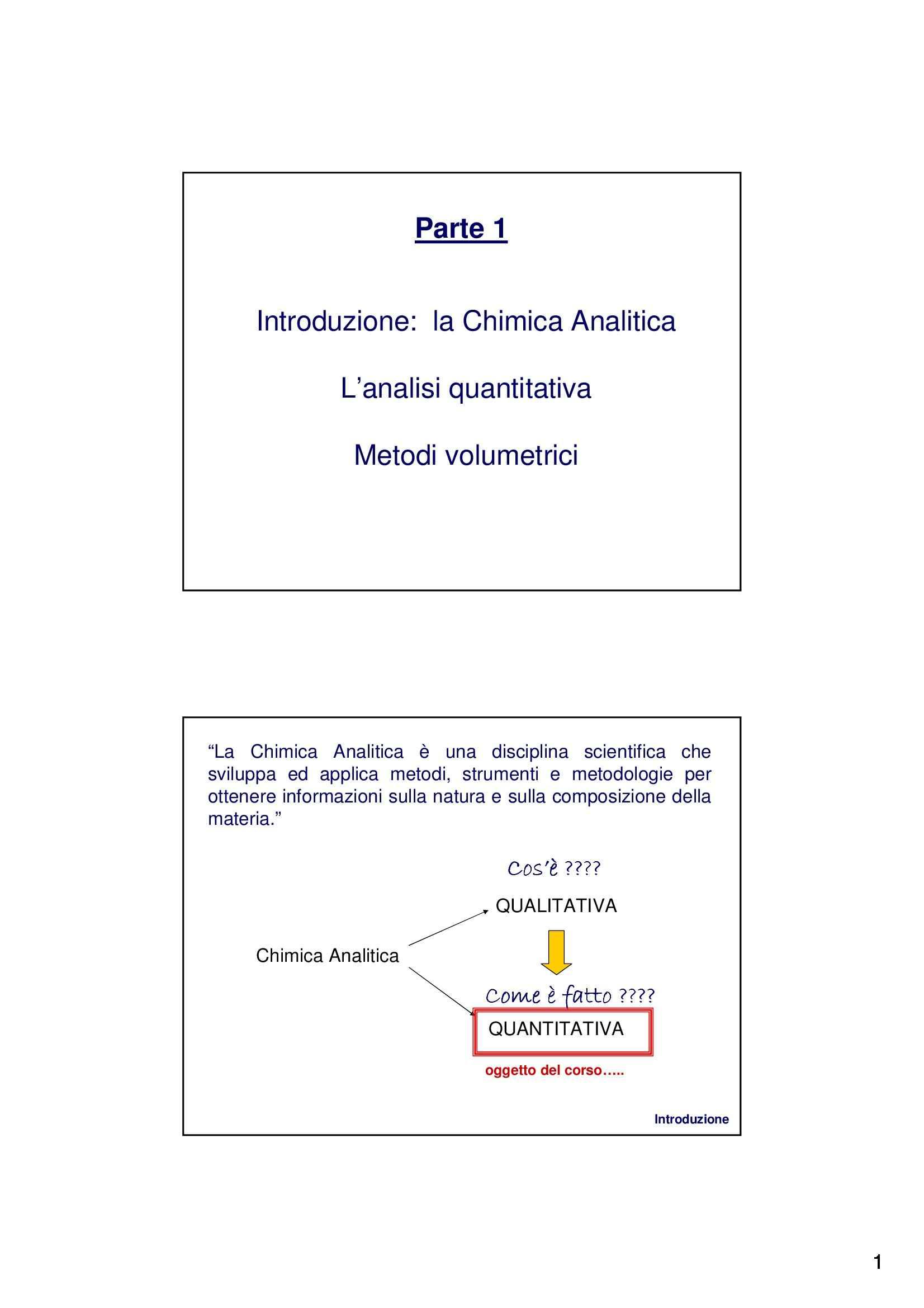 Analisi quantitativa e titolazione di sostanze