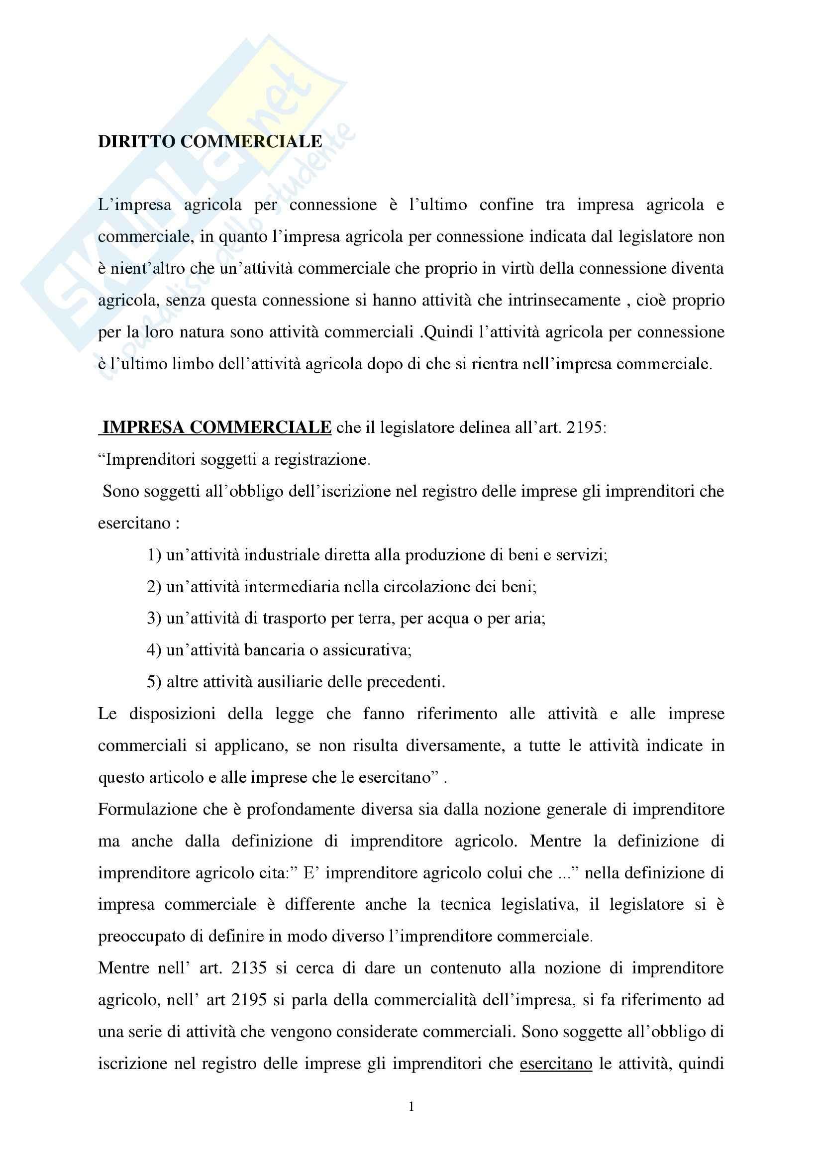 Diritto Commerciale - Riassunto esame, prof. Barcellona