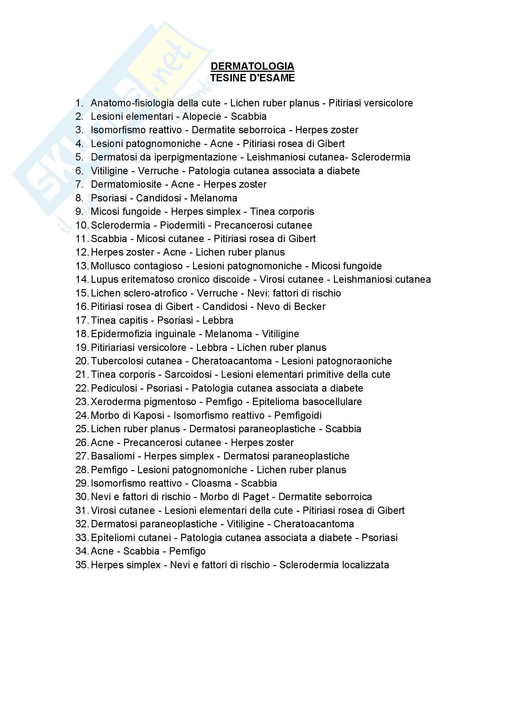 Dermatologia - l'elenco delle tesine d'esame
