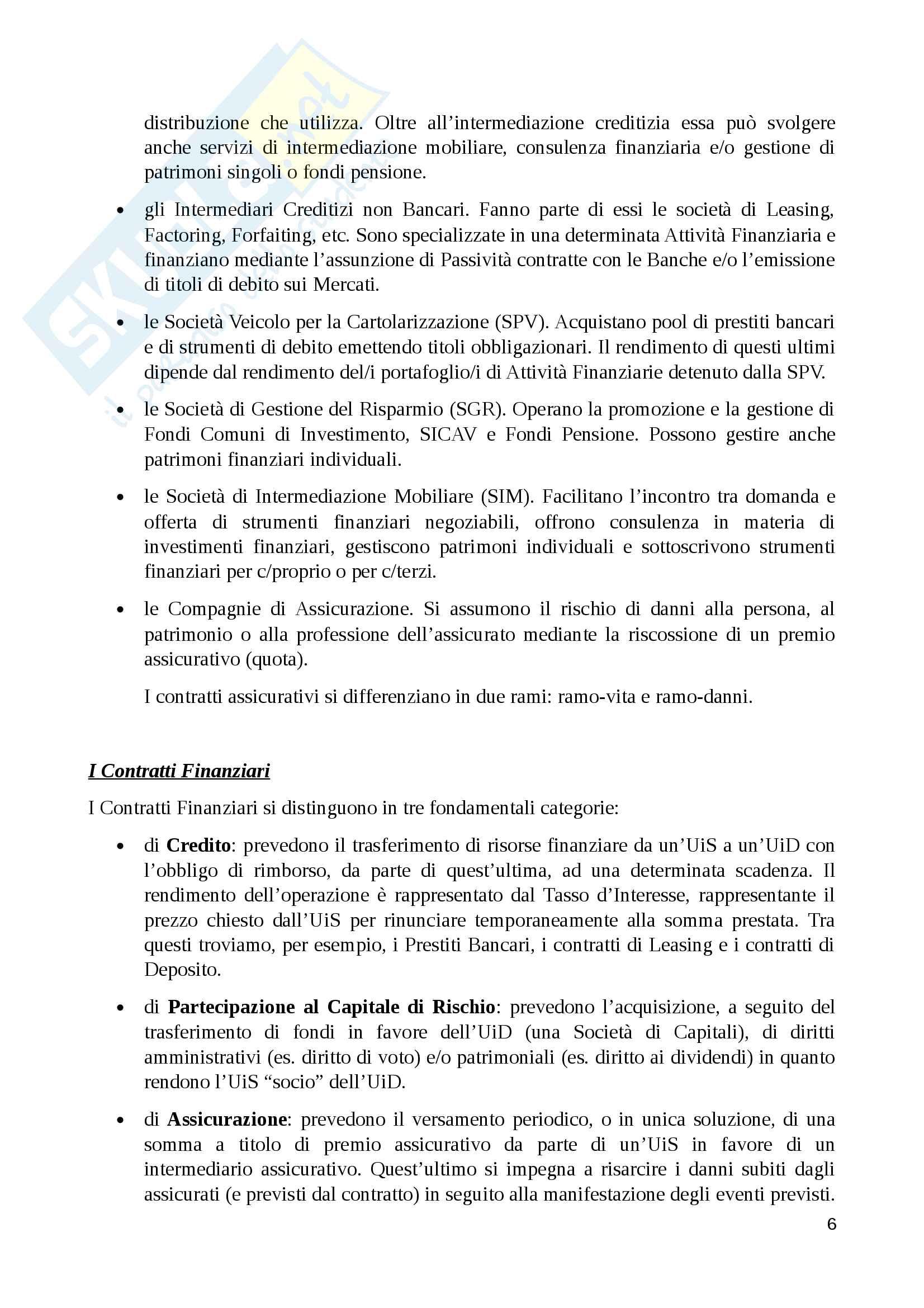 Riassunto economia degli intermediari finanziari, prof. Murè/La Torre Pag. 6