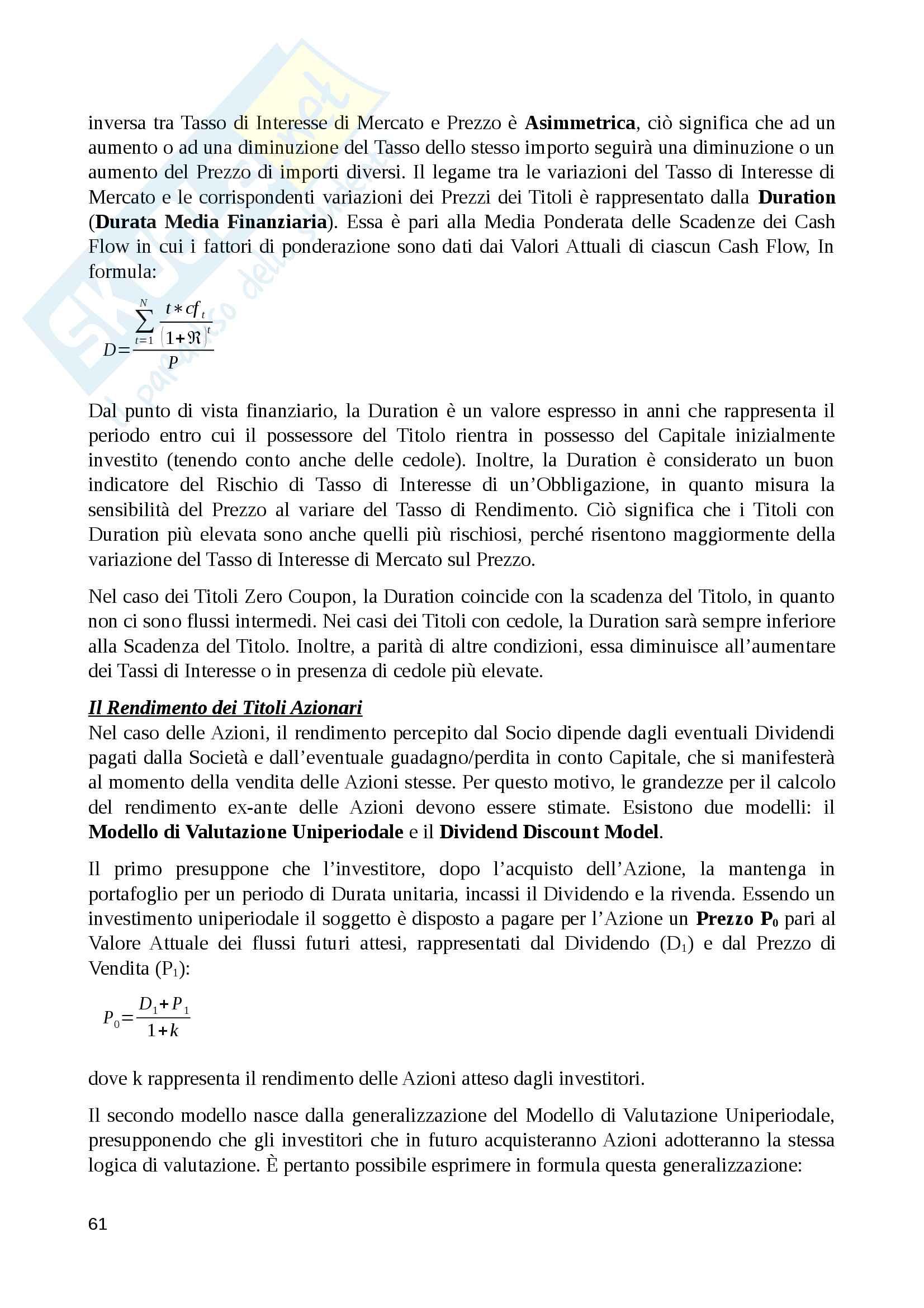 Riassunto economia degli intermediari finanziari, prof. Murè/La Torre Pag. 61