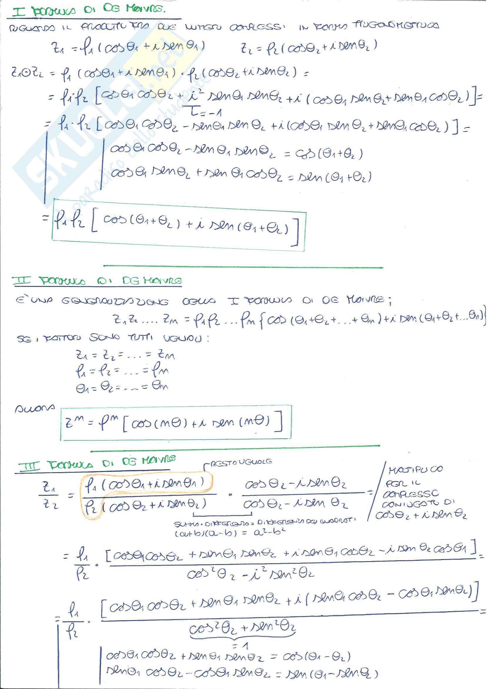 Algebra Lineare - Riassunto esame e formulario, prof. Vegni