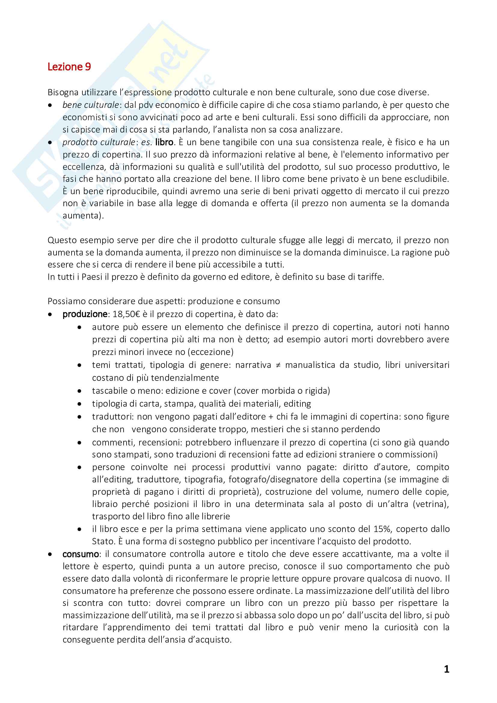 Appunti di Istituzioni e Politiche Culturali - II Modulo - Prof. Pedrini