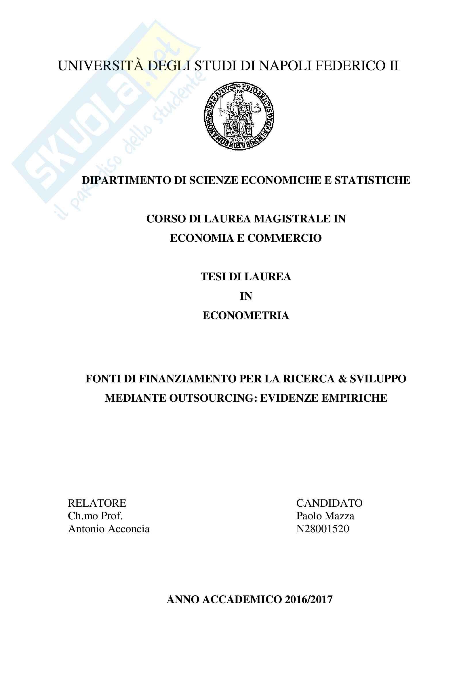 Outsourcing della Ricerca & Sviluppo: analisi empirica, tesi in econometria