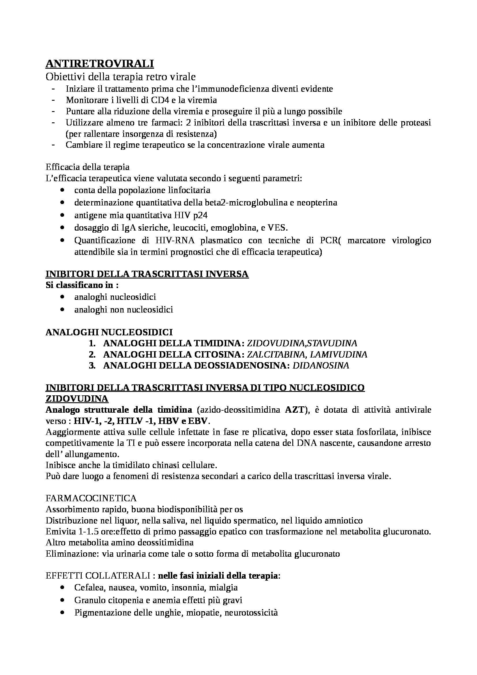 Farmacologia - schema antiretrovirali