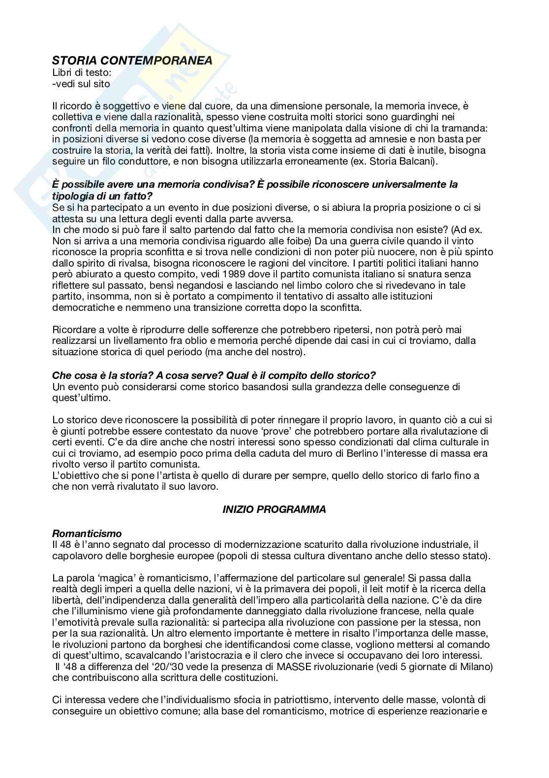 Appunti riassuntivi del corso di storia contemporanea per studenti del SID e di Scienze Politiche (prof. Pietro Neglie)
