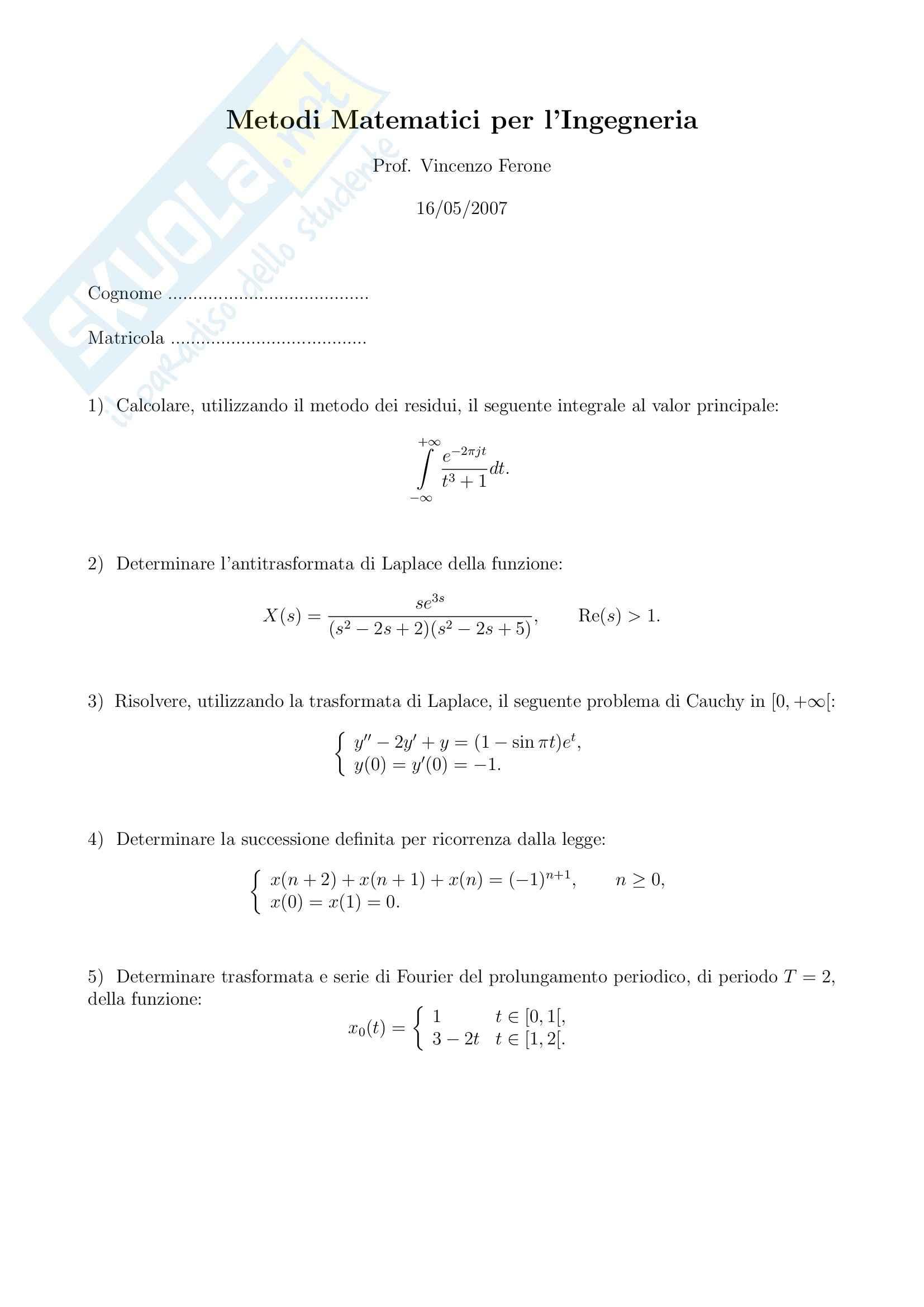 Metodi matematici per l'ingegneria - esercizi