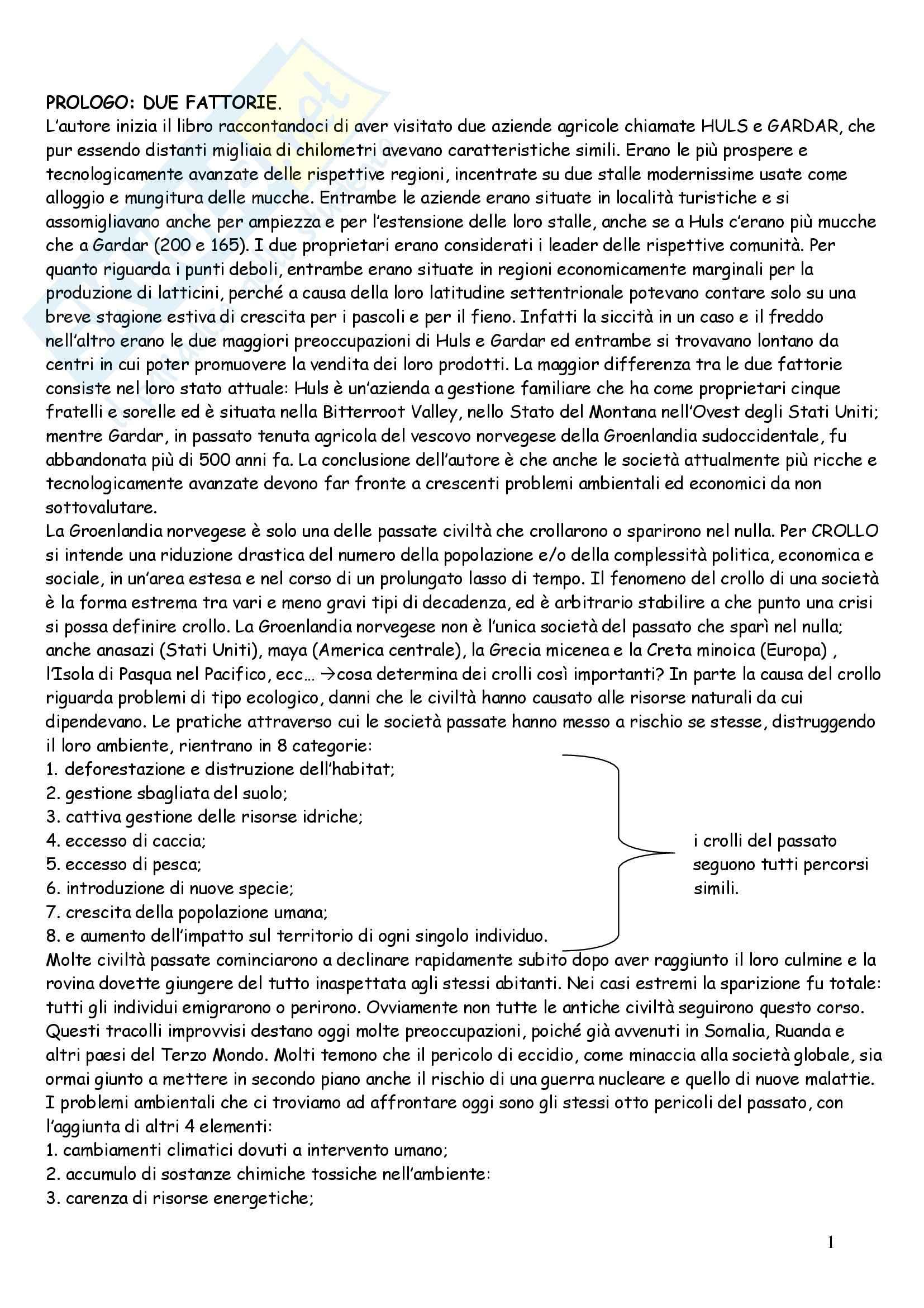 Riassunto esame Geografia, prof. Andreotti, libro consigliato Collasso di Diamond