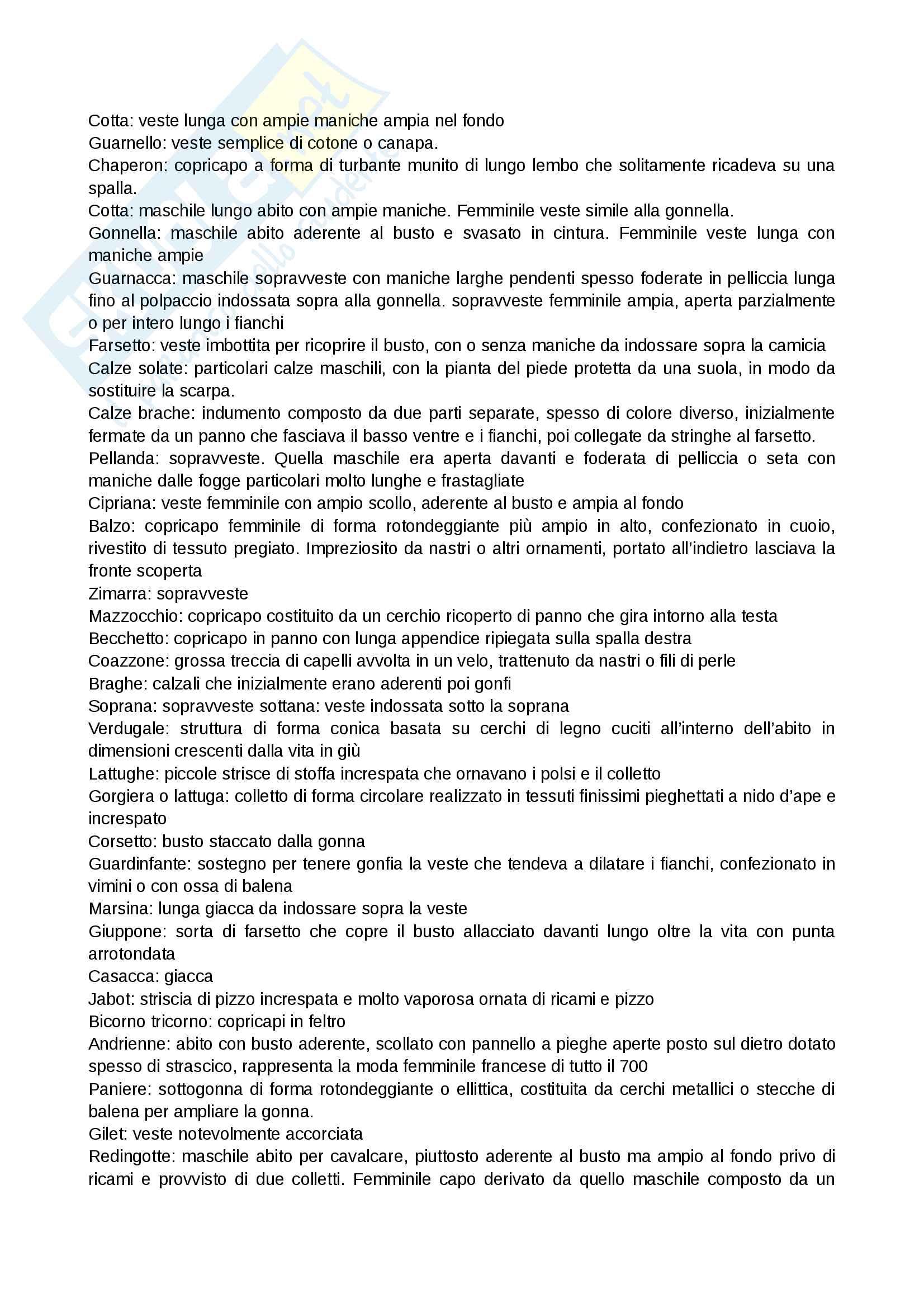 Appunti delle lezioni sui capi e le definizioni da sapere per l'esame di storia del costume e della moda, prof.ssa Muzzarelli