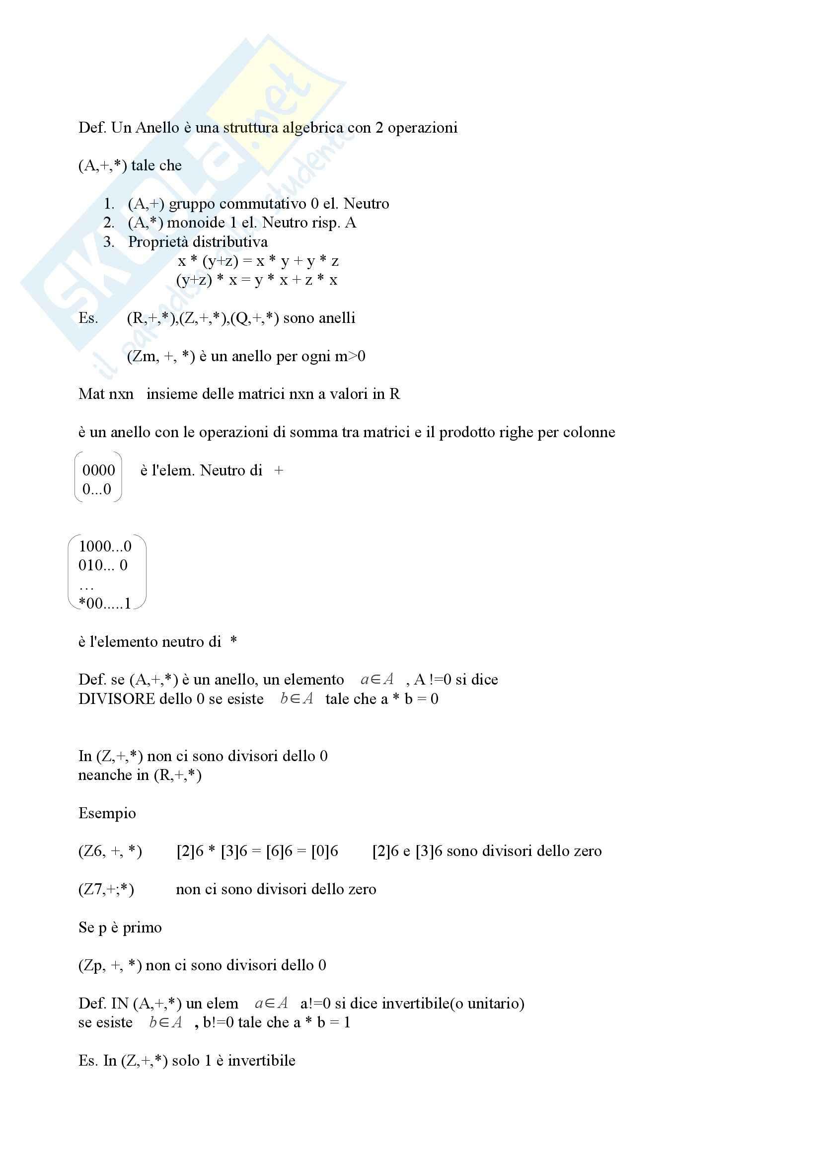 Algebra e geometria - anelli e matrici