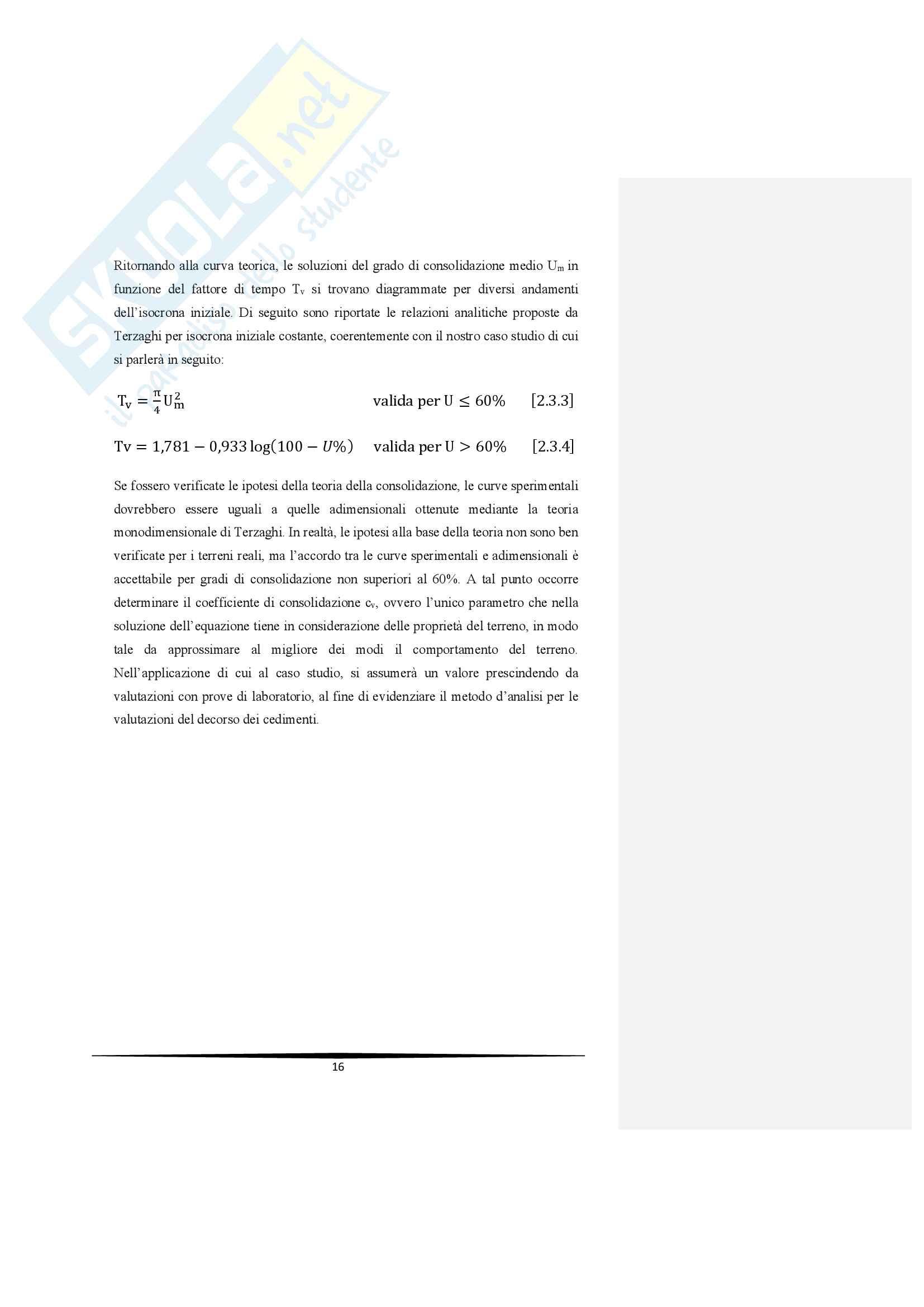 Decorso dei cedimenti di consolidazione per terreni a grana fine Pag. 16