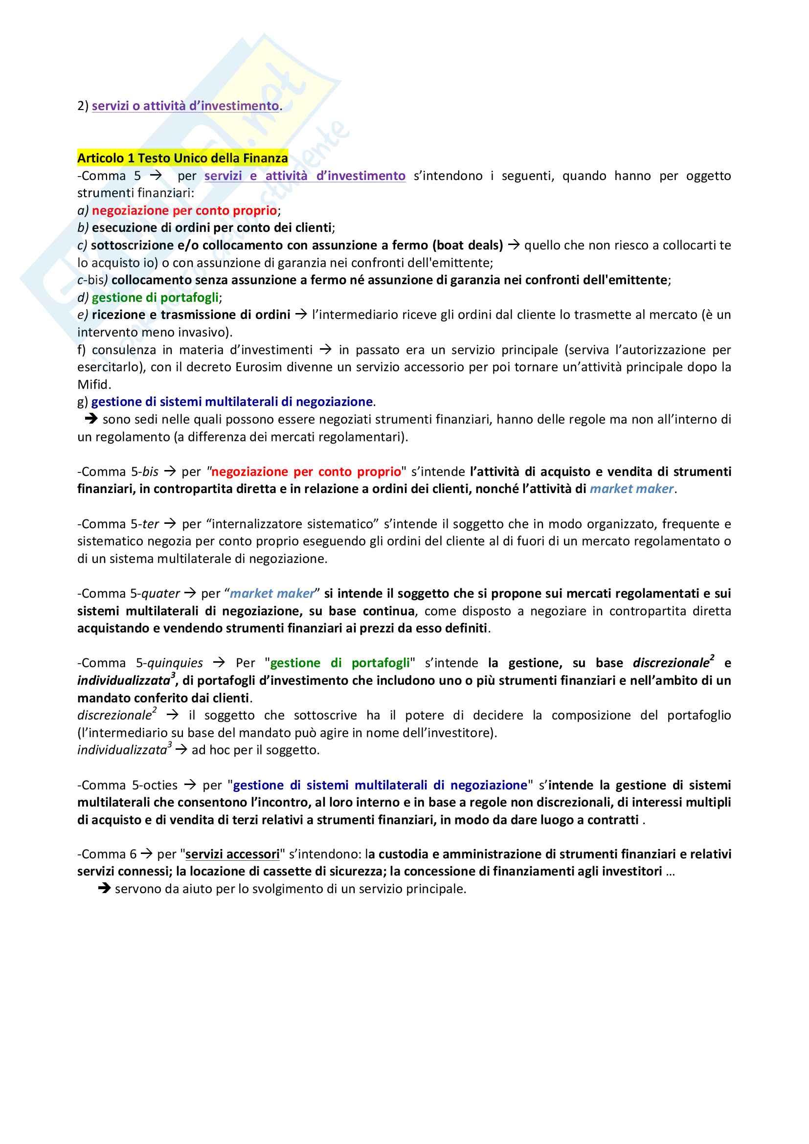 Diritto dei Mercati e degli Intermediari Finanziari Pag. 16