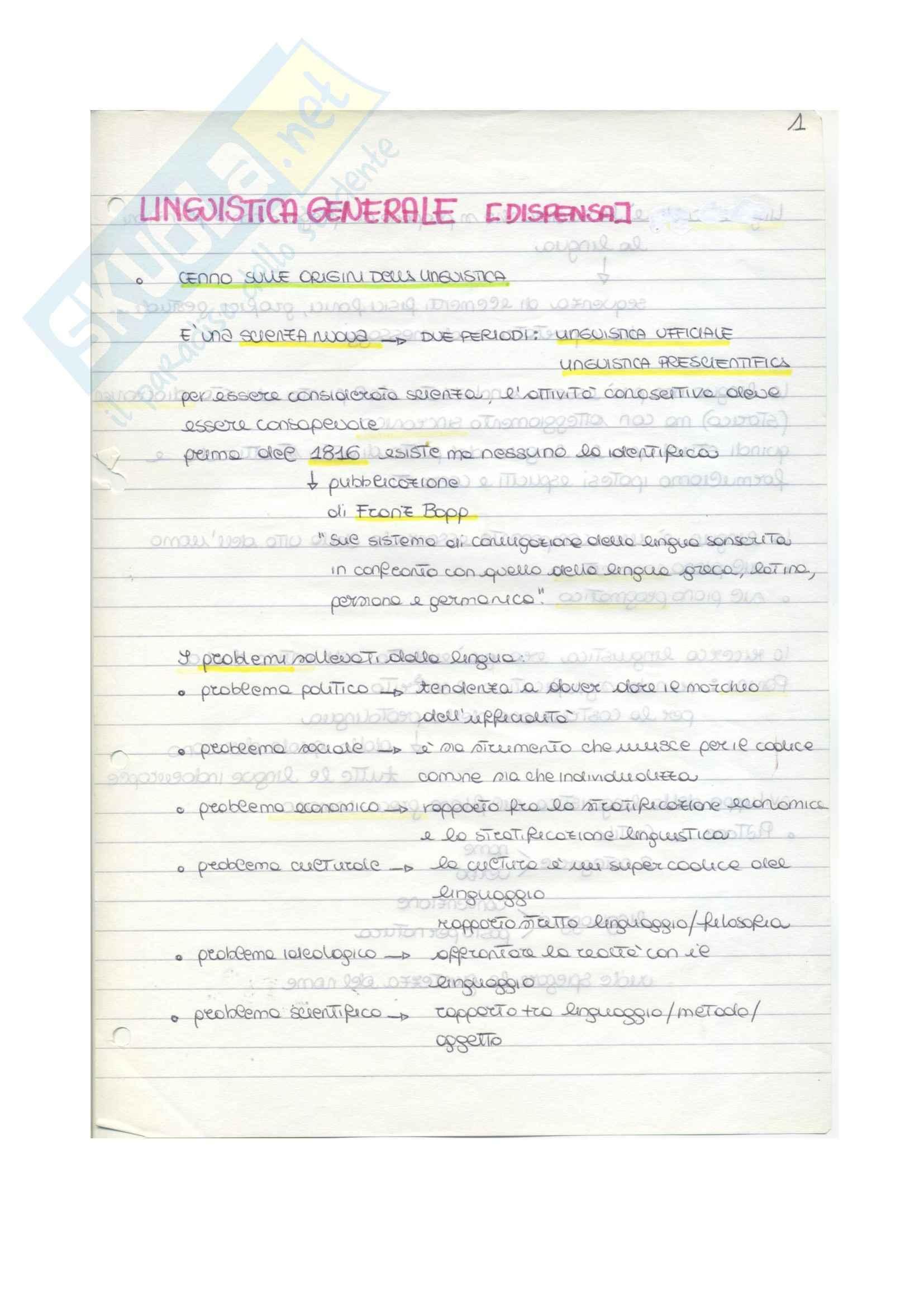 Lezioni, Linguistica generale