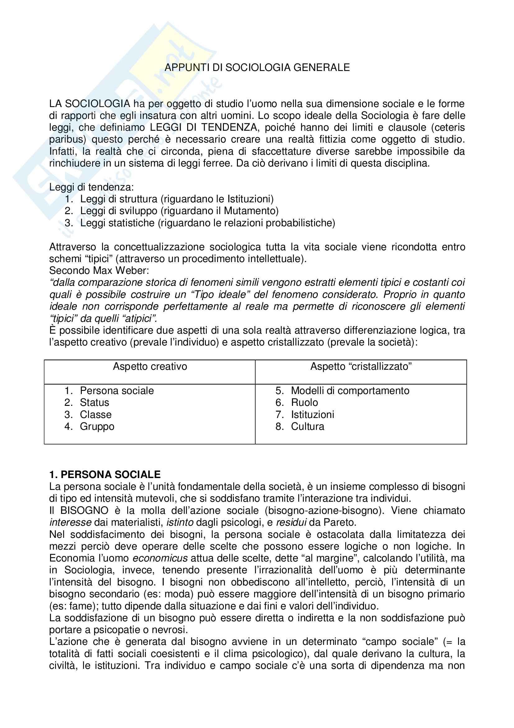 La conoscenza sociologica, Mongardini - Appunti