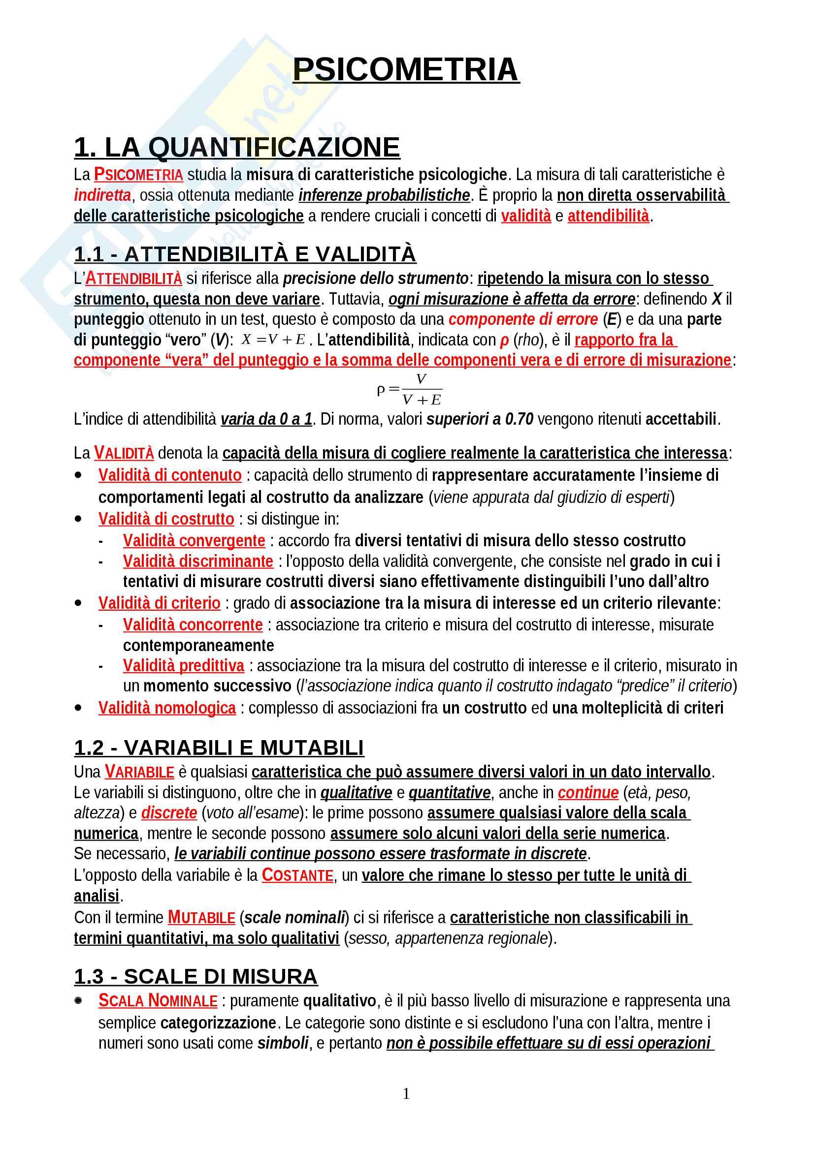 """Riassunto esame Psicometria, prof. Areni, libro consigliato """"Elementi di statistica per la psicologia"""", Ercolani, Areni, Leone"""