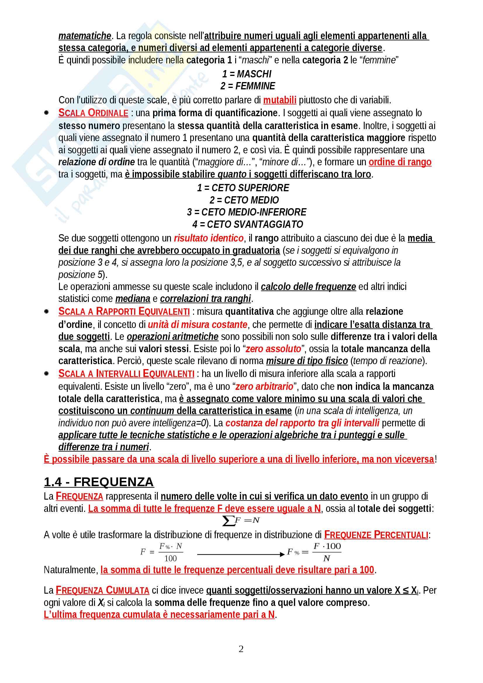 """Riassunto esame Psicometria, prof. Areni, libro consigliato """"Elementi di statistica per la psicologia"""", Ercolani, Areni, Leone Pag. 2"""