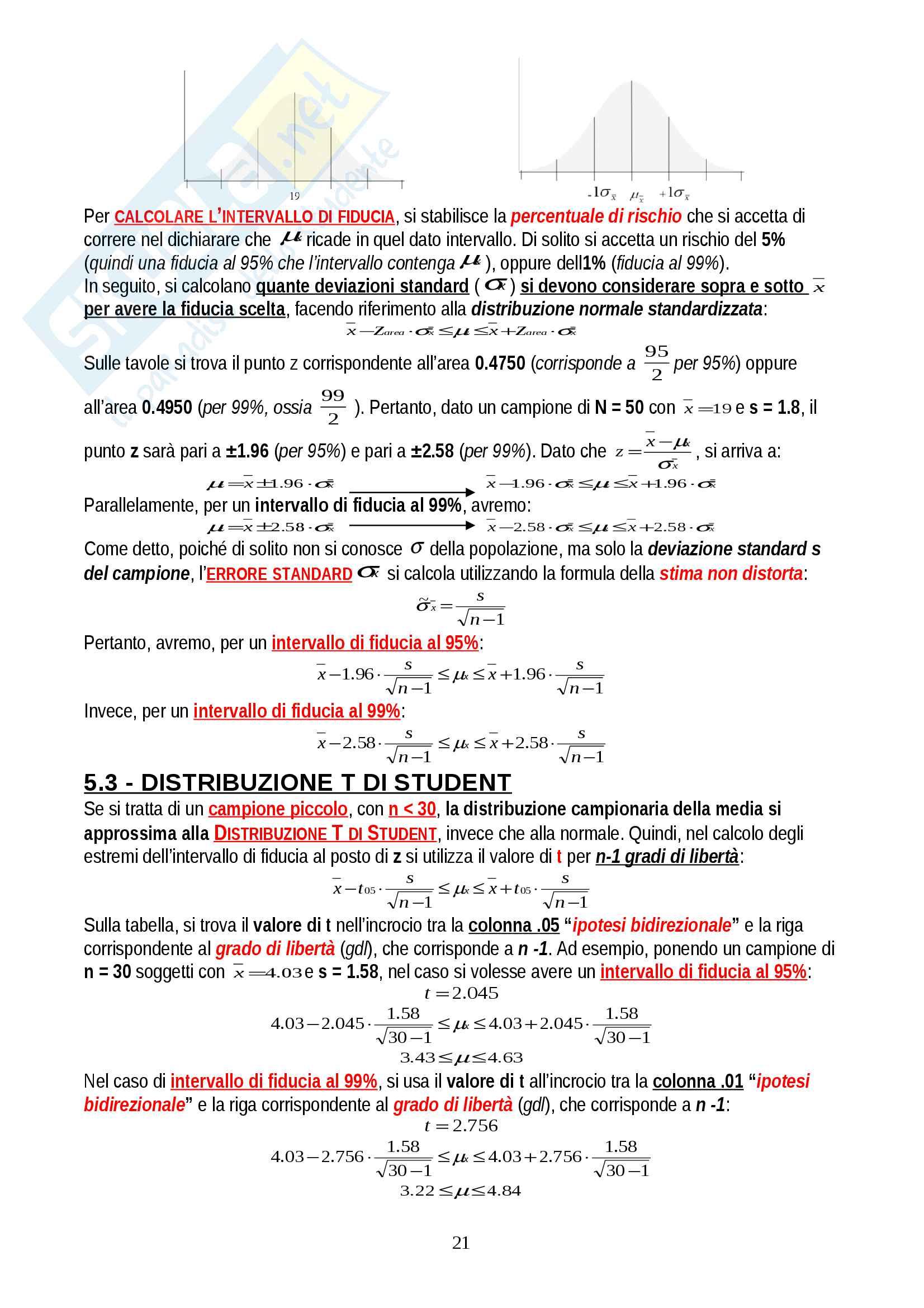 """Riassunto esame Psicometria, prof. Areni, libro consigliato """"Elementi di statistica per la psicologia"""", Ercolani, Areni, Leone Pag. 21"""