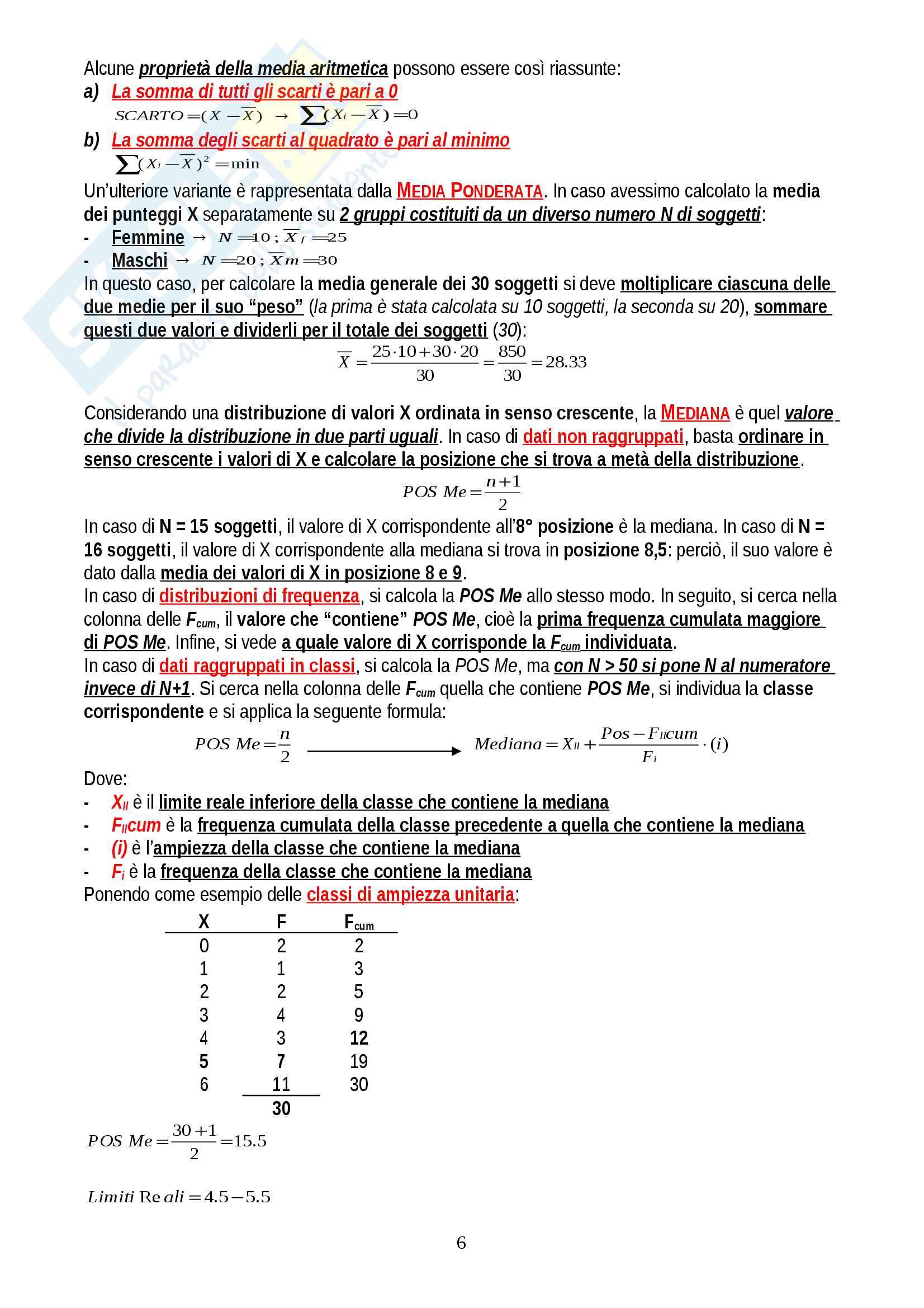 """Riassunto esame Psicometria, prof. Areni, libro consigliato """"Elementi di statistica per la psicologia"""", Ercolani, Areni, Leone Pag. 6"""