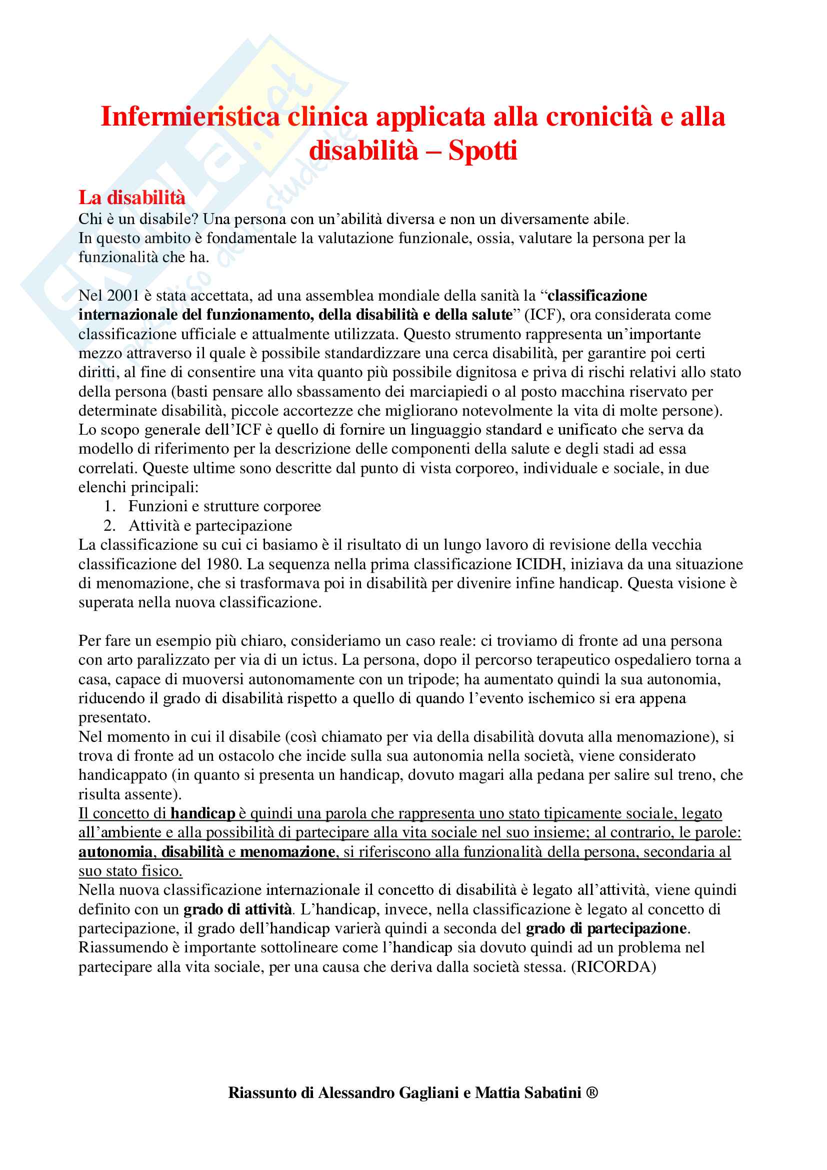Infermieristica Clinica applicata alla Cronicità e alla Disabilità - Appunti Completi