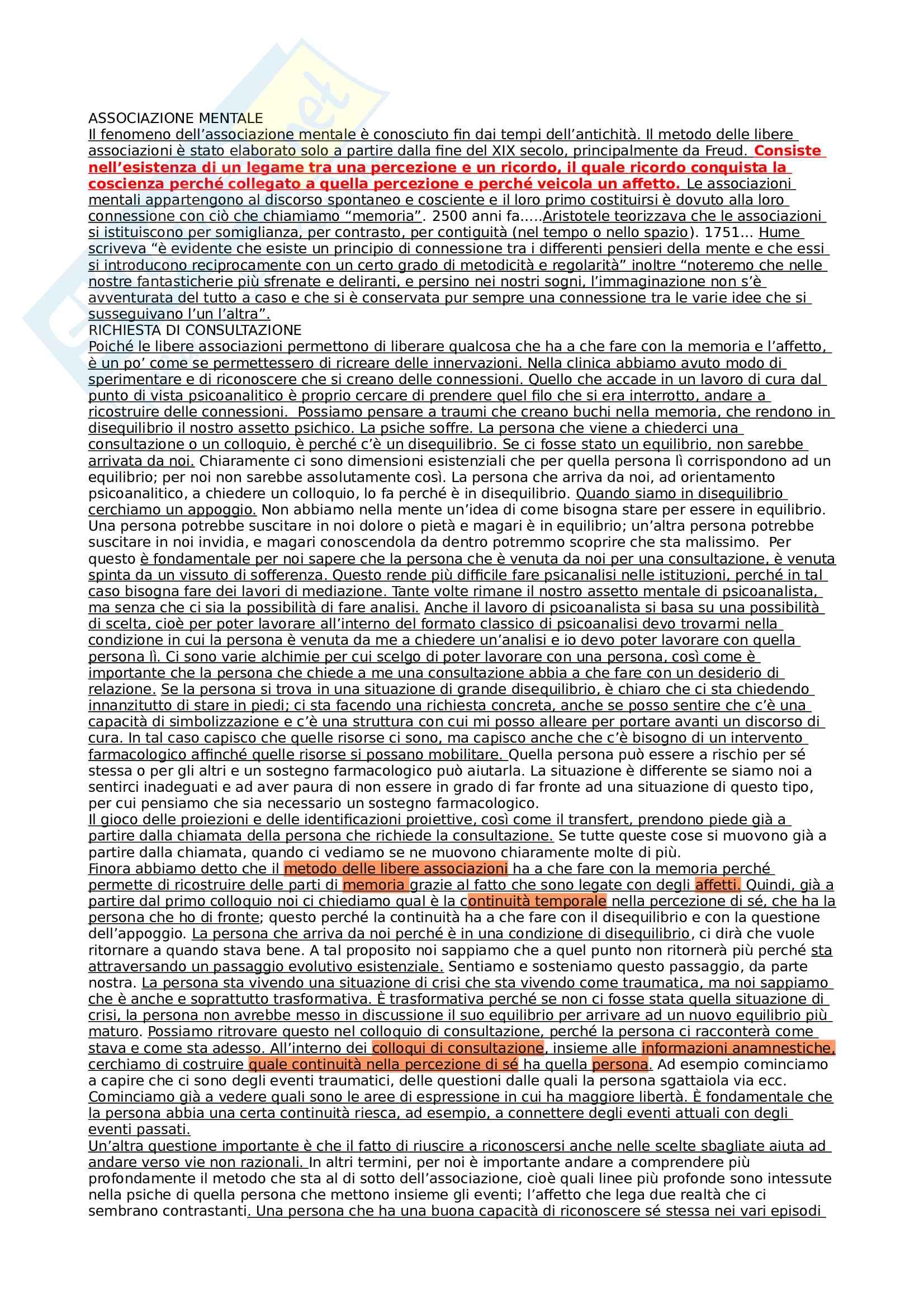 Appunti dettagliati delle lezioni - Teoria e tecnica del colloquio ad orientamento psicoanalitico