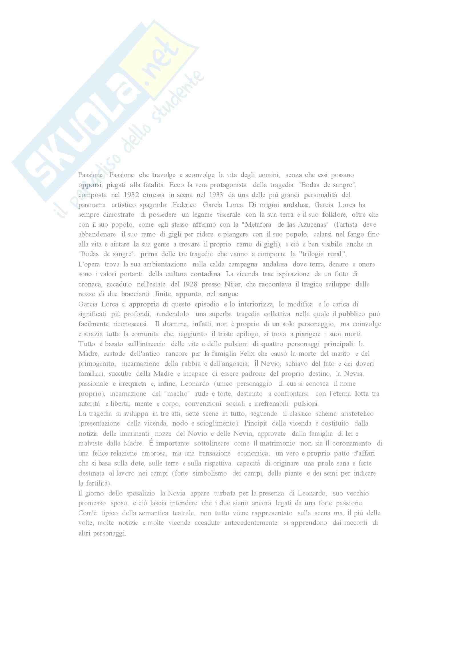 Riassunto esame Letteratura Spagnola, prof. Liano, libro consigliato Bodas de Sangre di F. G. Lorca