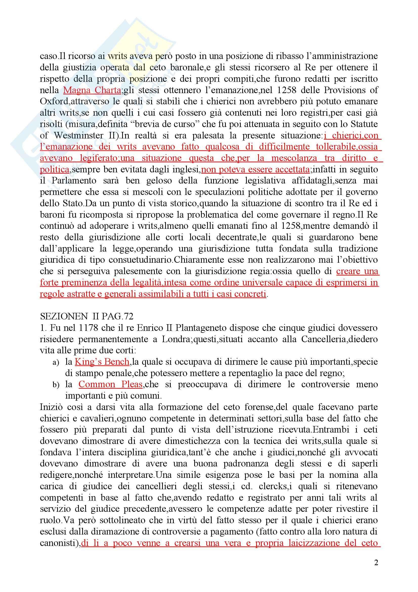 Riassunto esame Diritto privato, prof. Martini, libro consigliato Sistemi giuridici comparati, Gambaro Sacco Pag. 2